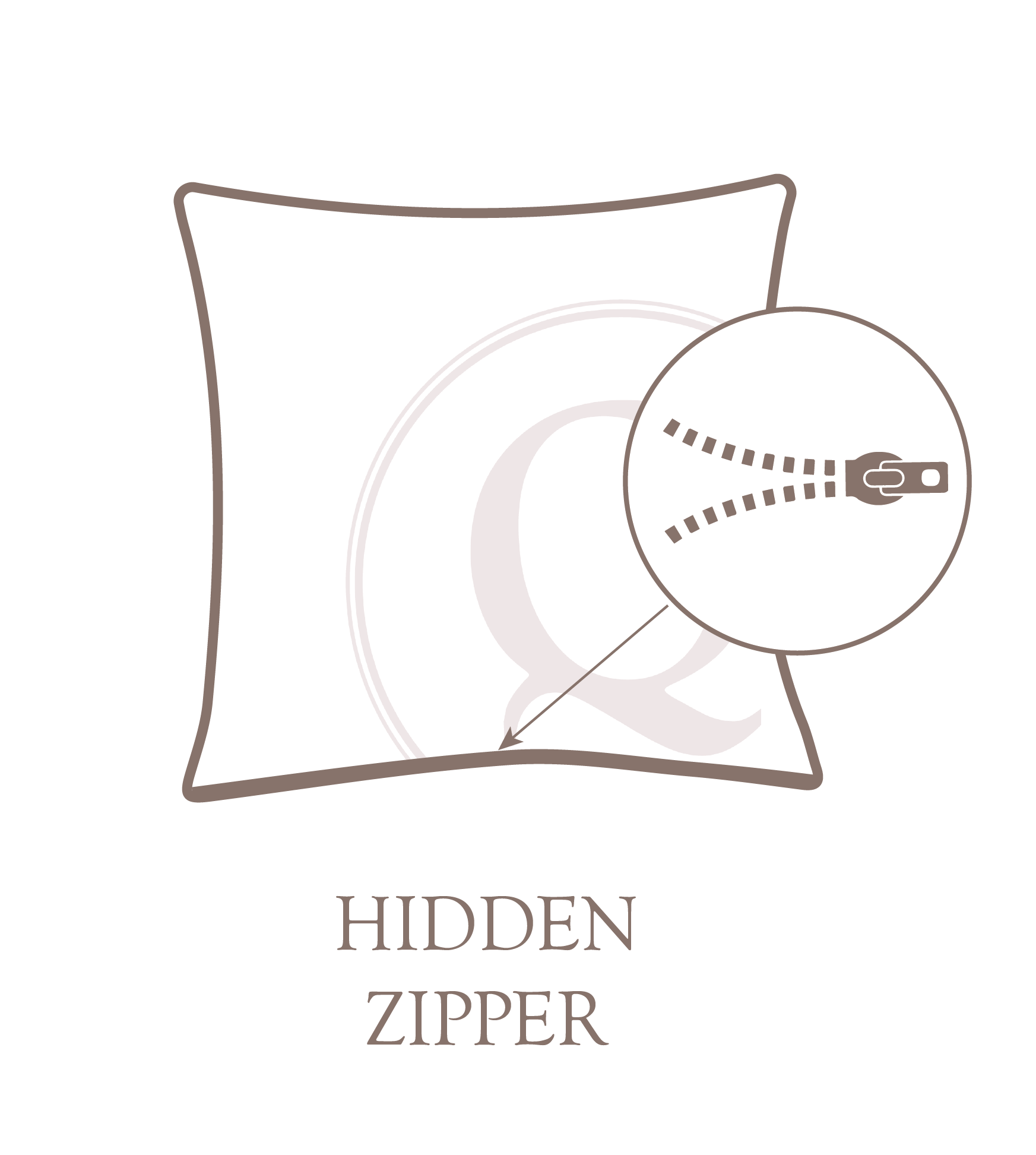 Hidden Zipper Pillow Closure