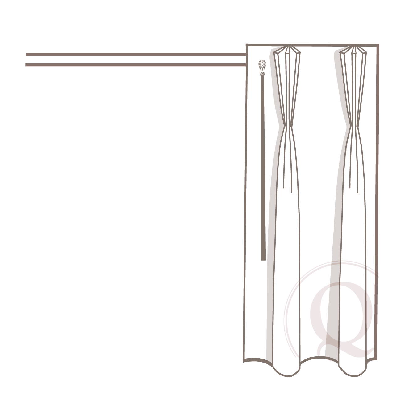 Manual/baton - Ideally, the baton attaches directly to the drape/master carrier and allows for a manual push/pull of the panel to open and close. However, the baton can be relocated to the back of the drapery for aesthetics.