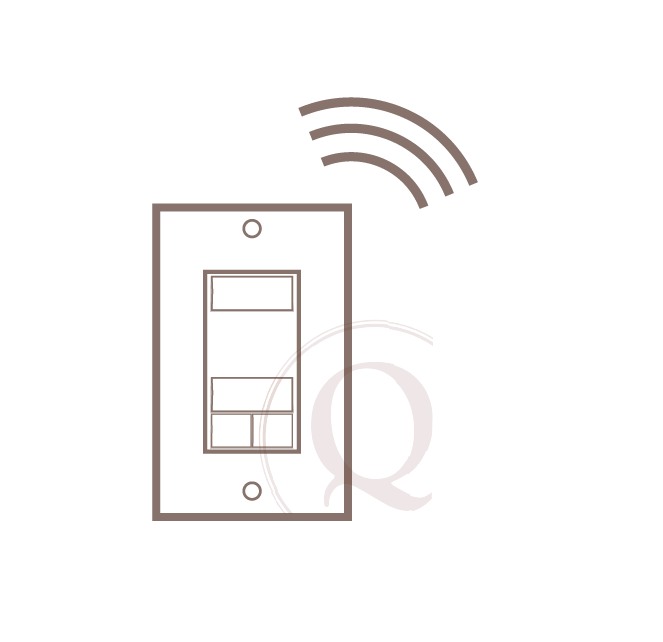 wireless wall switch - Installed with a switch plate flush with the wall, this battery operated remote can be places anywhere in the room for easy guest access.