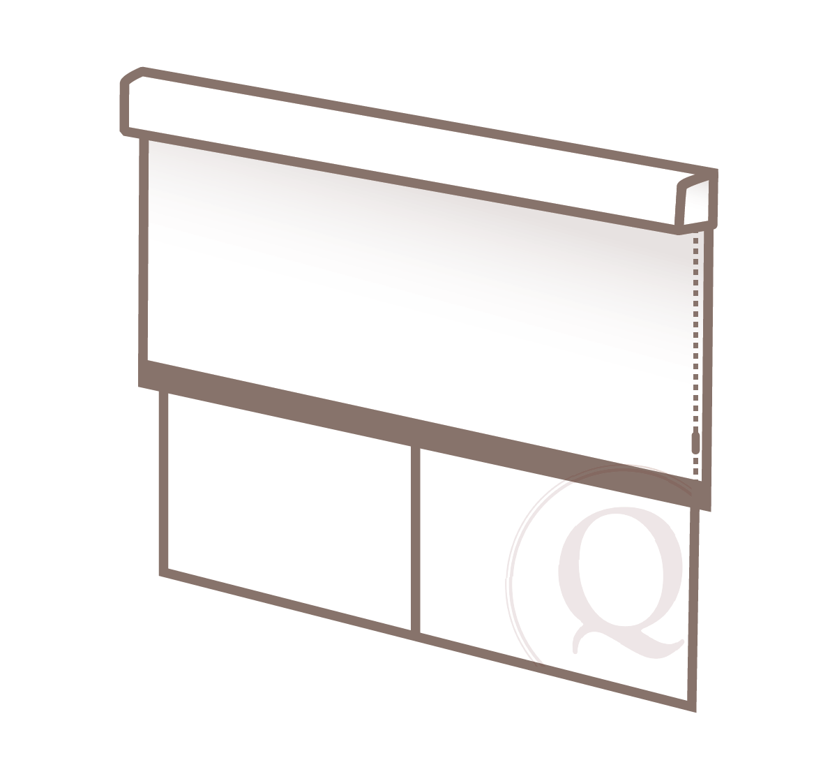 outside mount - When a roller shade is mounted on the wall or ceiling above the window, extending outside the window opening.
