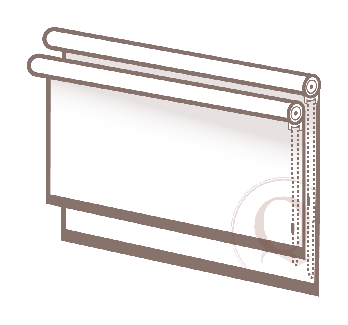 Dual shades - When two roller shades are mounted via one bracket at a window.