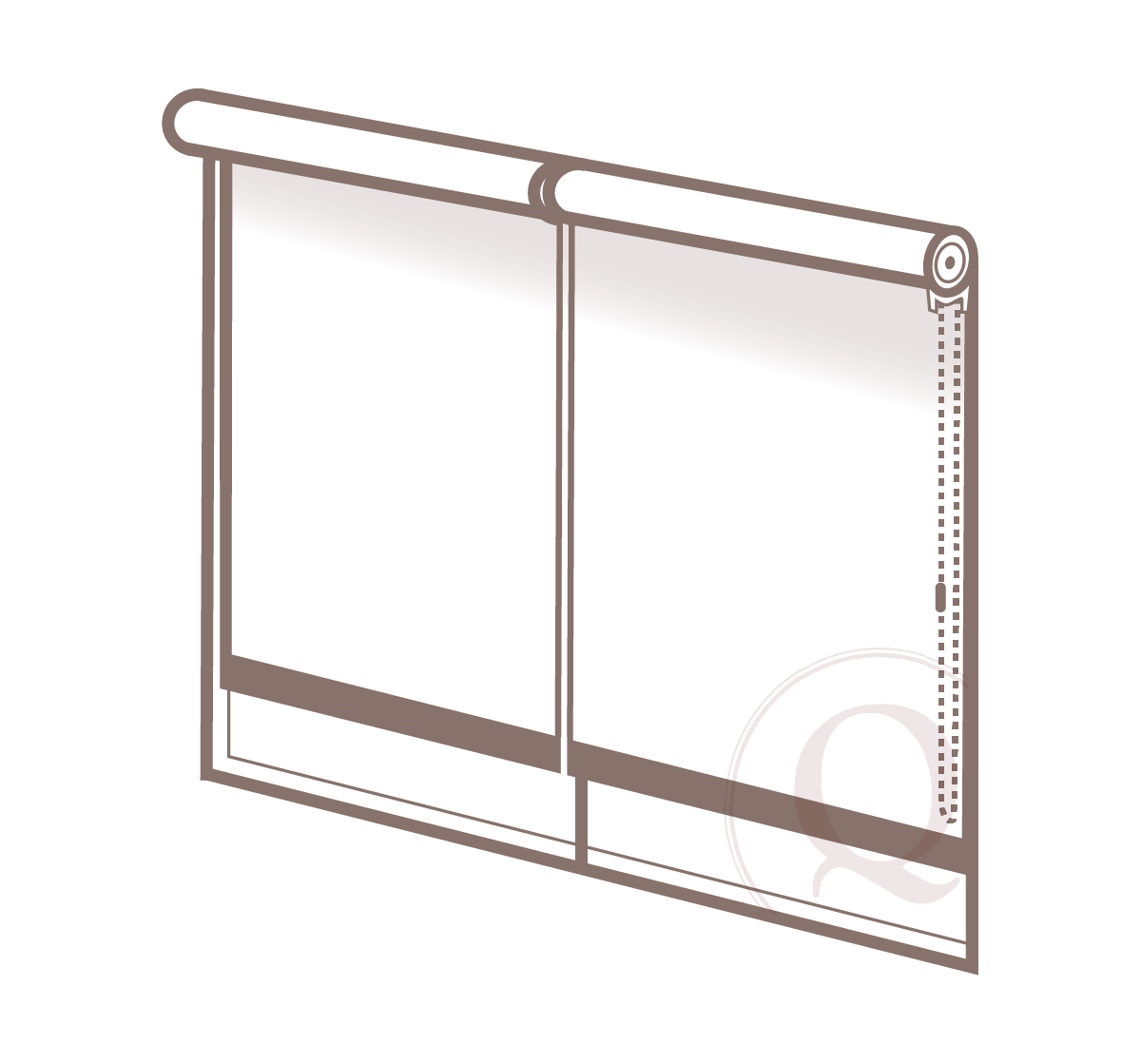 coupled shades - When two roller shades are mounted with an intermediate bracket and single clutch or motor per window.