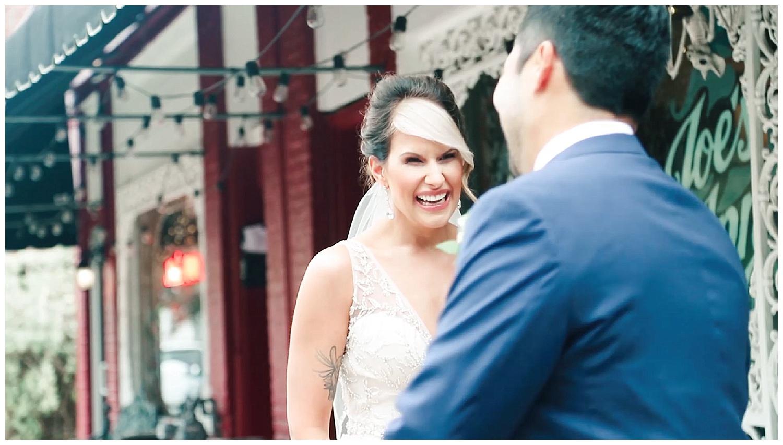Richmond First Look at Joe's Inn - Fan Wedding