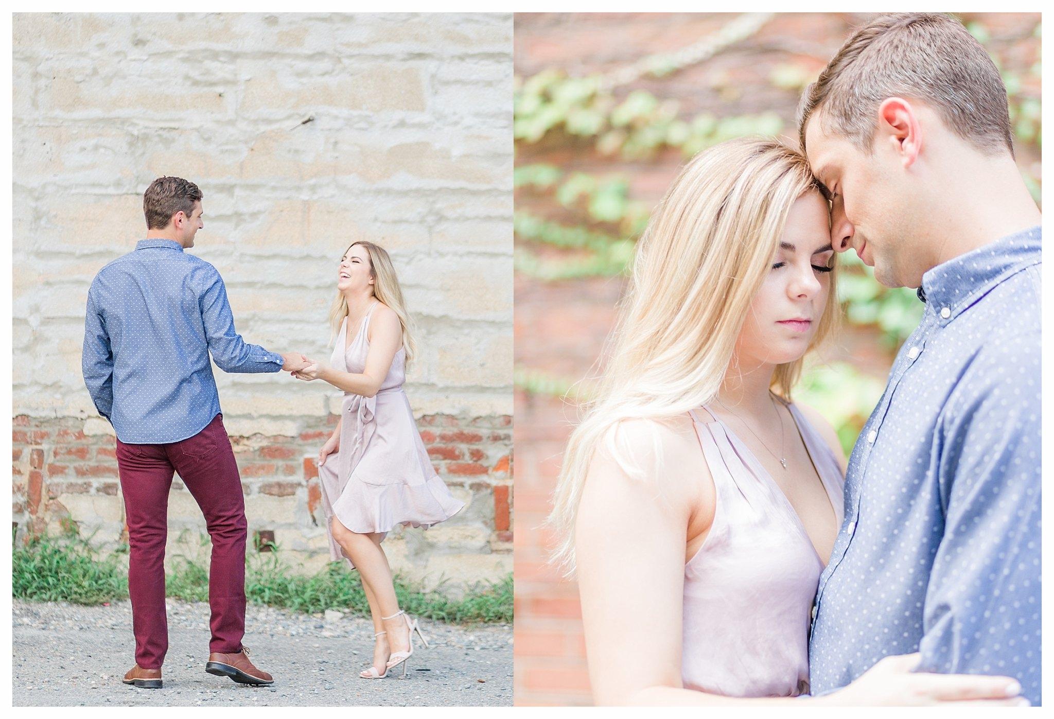 Richmond Engagement Photos - Shockoe Bottom Ivy Wall - Katie + Reid