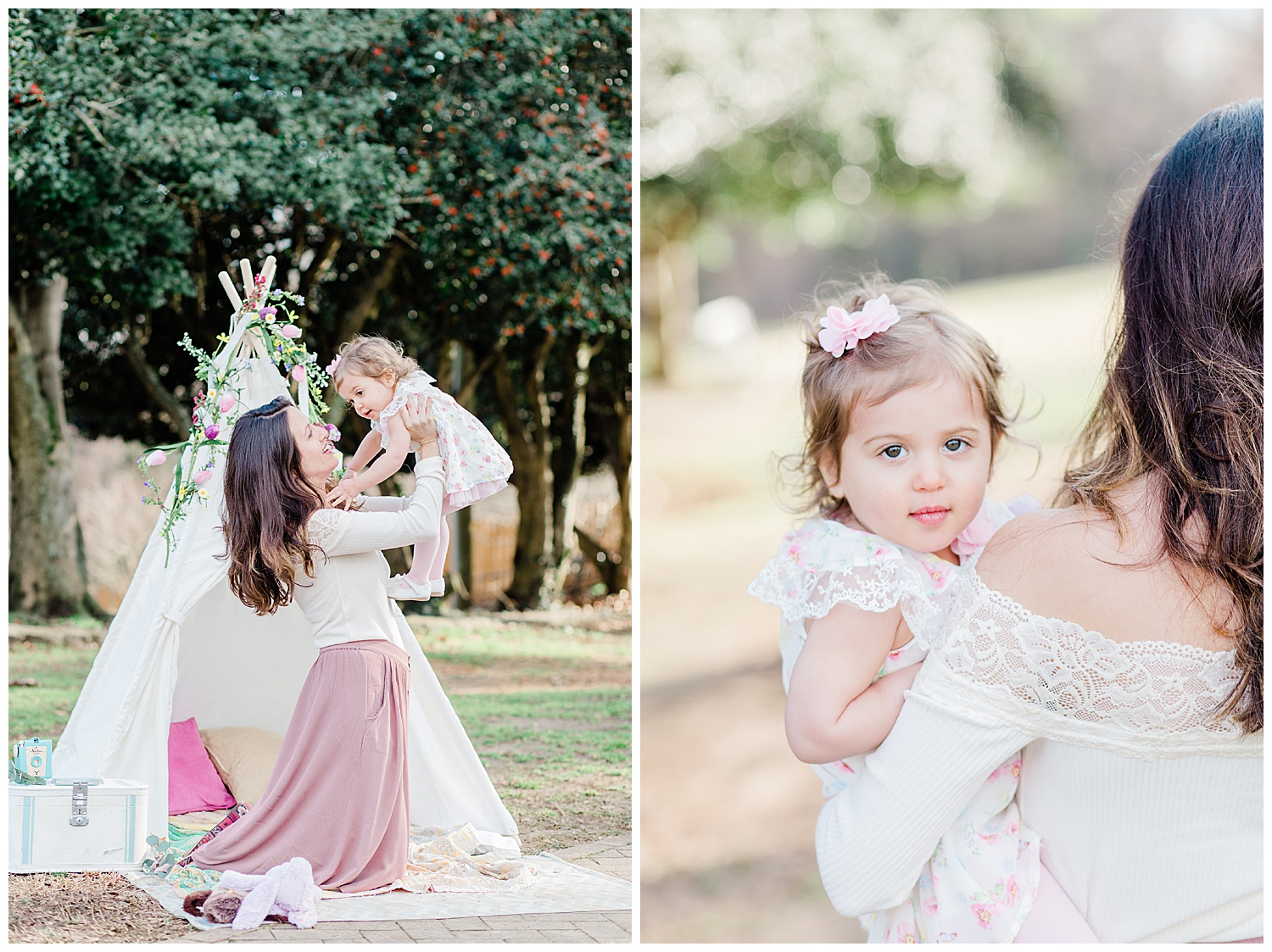 Mommy and Me Teepee Photos - Bohemian Styled Shoot