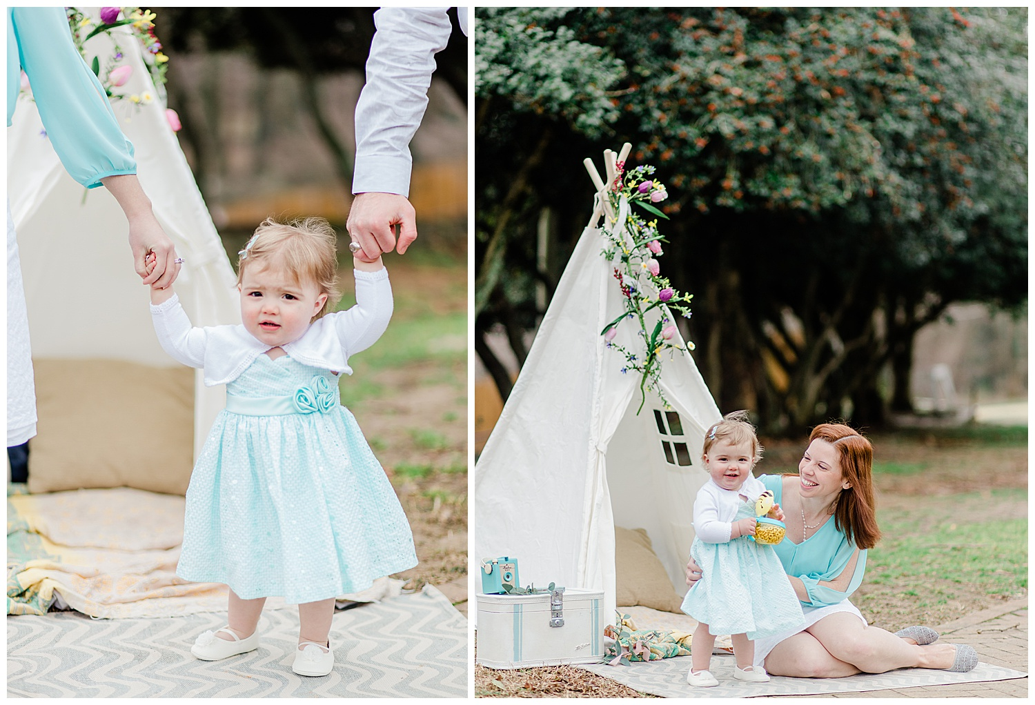 Mommy and me portraits with teepee