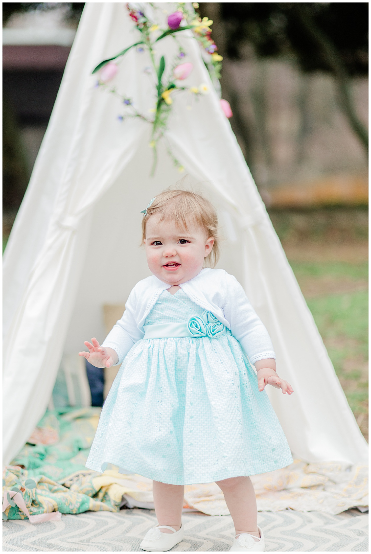 toddler portrait with teepee