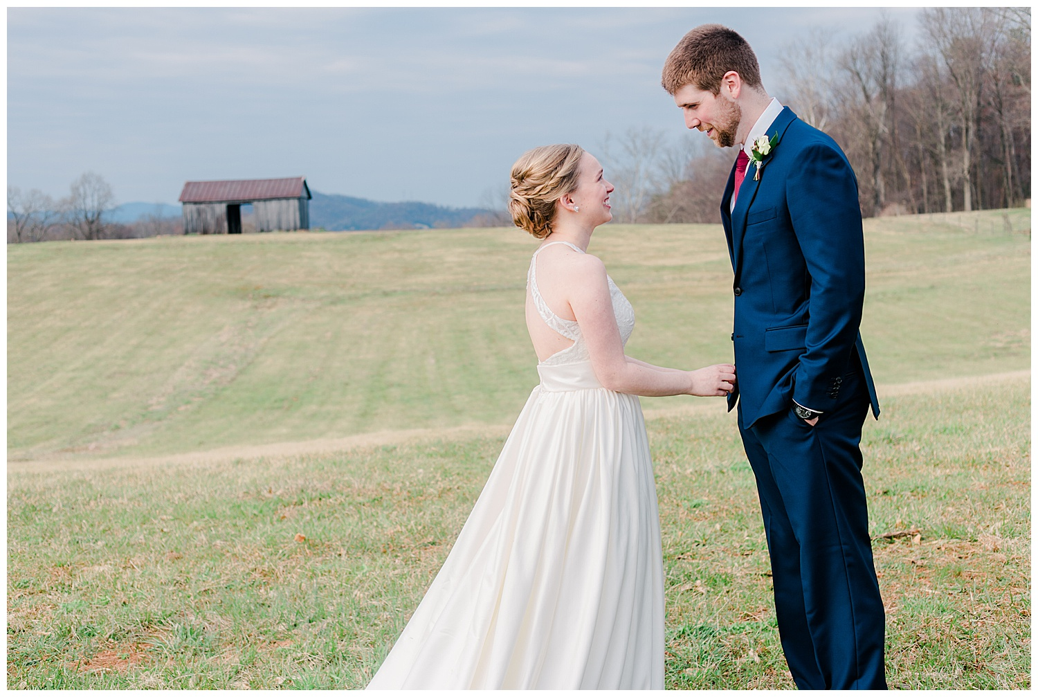 Early Mountain  Vineyards Wedding First Look - Charlottesville, VA