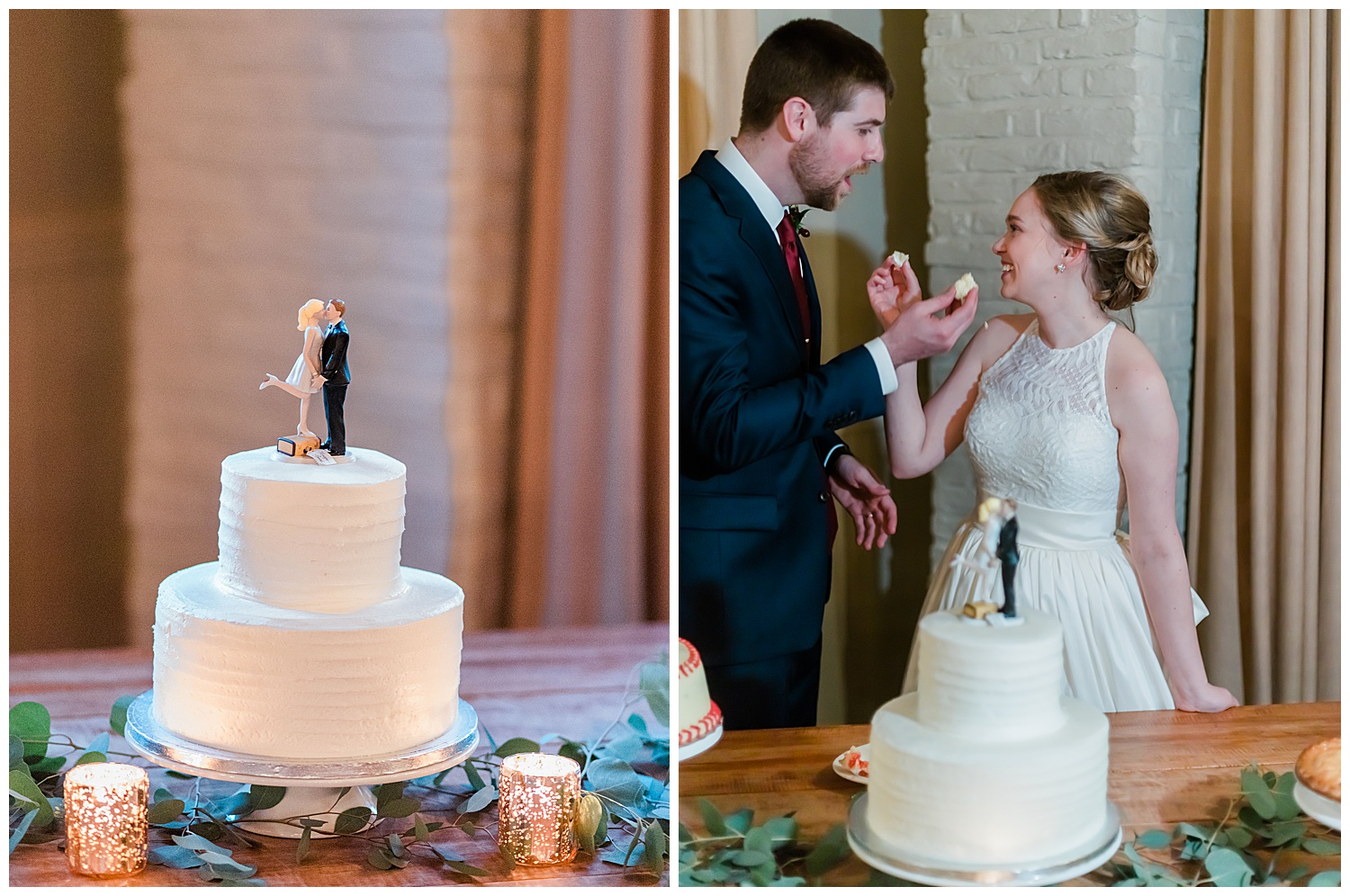 Early Mountain Vineyards Wedding Reception Cake cutting - Charlottesville, VA