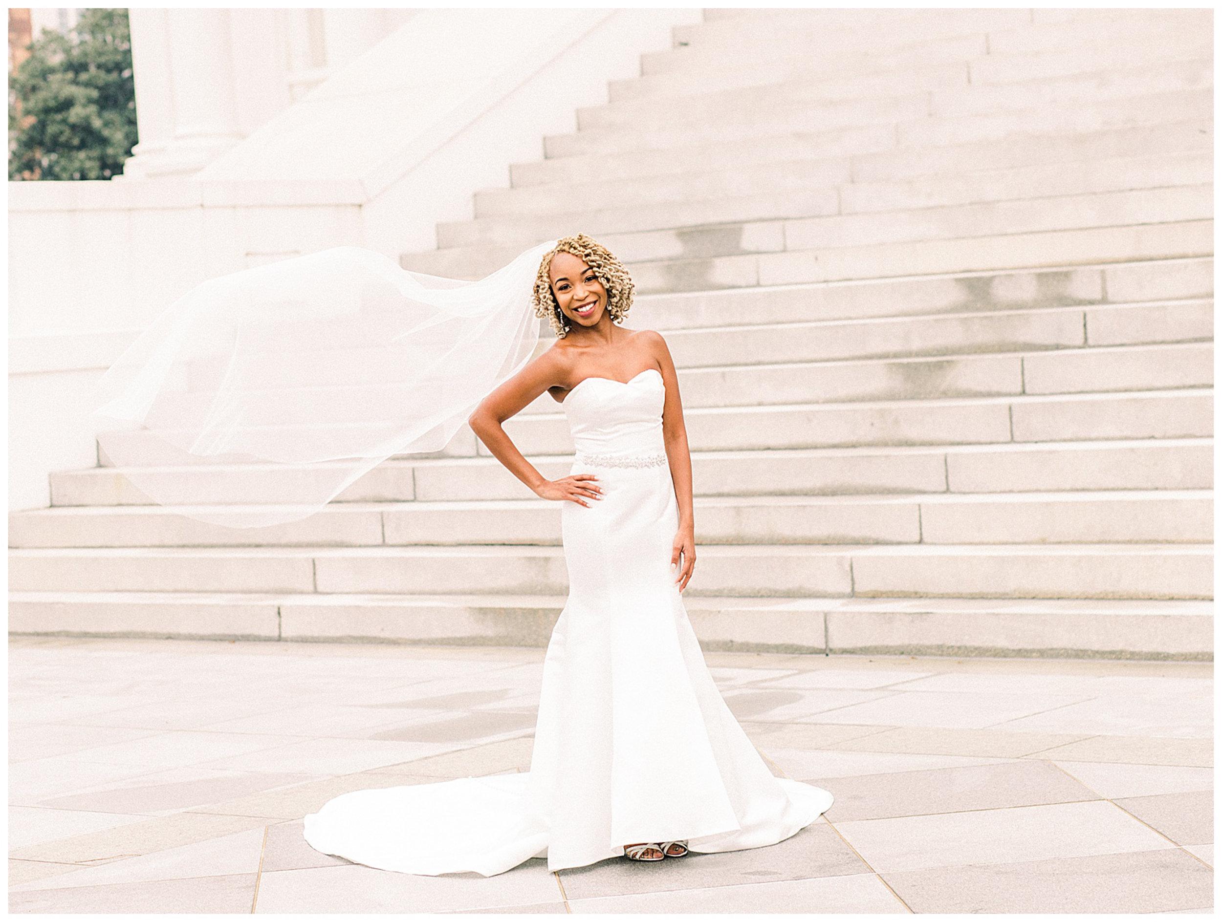 Richmond Virginia State Capitol Bridal Portrait - Flying Veil Shot