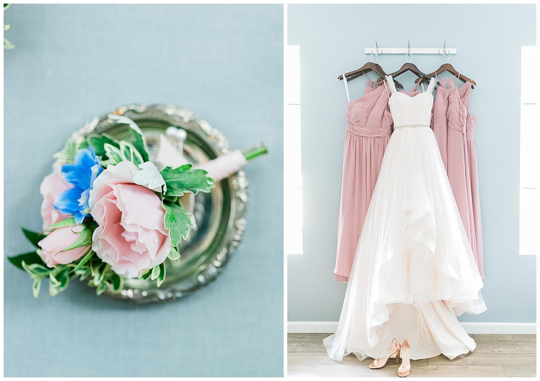 Blush Pink Justin Alexander Wedding Dress with pink bridesmaids dresses