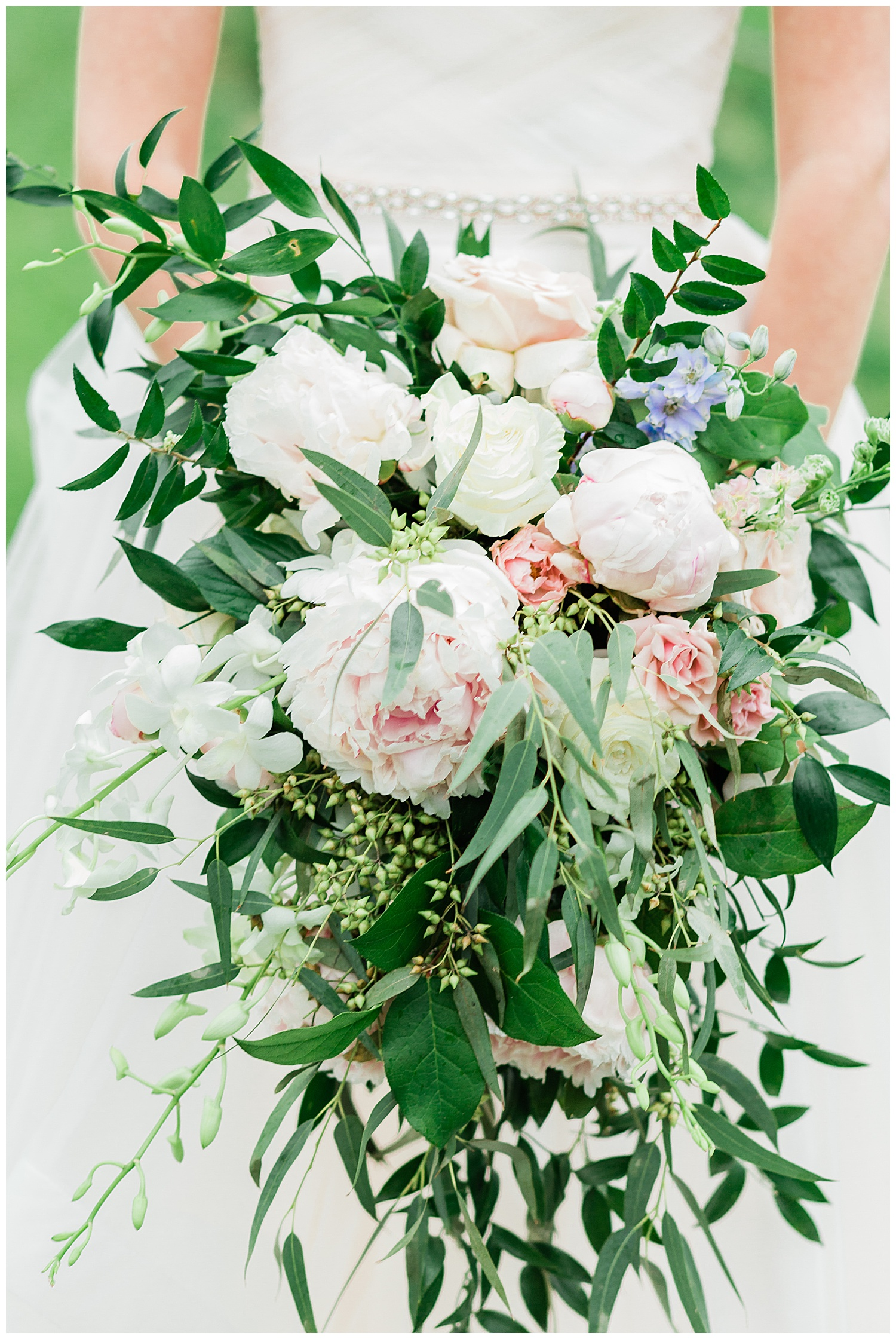 Beautiful bridal bouquet with pink peonies and white roses