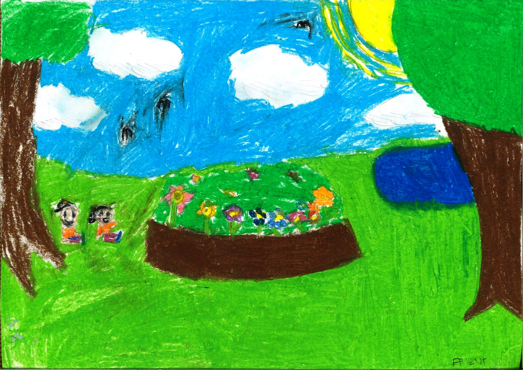Working together, the two children use oil pastels to construct a vibrant scene of a day out in the park. The smiling faces of the two individuals, and the brightness of the colours selected, work to convey the feelings of happiness associated with friendship.
