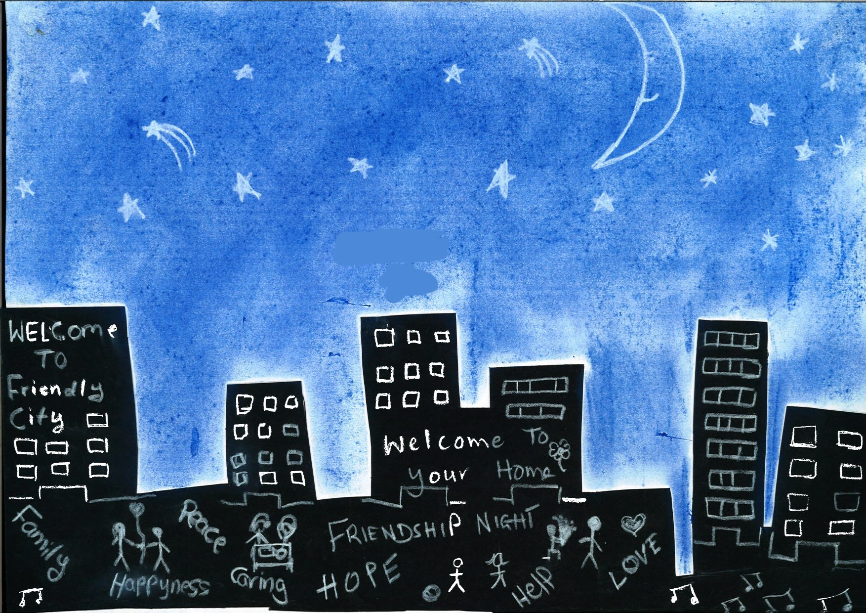 """The child's parents are from Iraq, and have been in Australia since 2012. For this image, the child and research team member, Tia, joined forces to depict the implicit - and explicit - characteristics of a """"friendly city"""". Whilst the city is dominated by dark, and anonymous, high-rise buildings, the night sky - and smiling moon - evoke feelings of calm and peace. The city's potentially intimidating nature is further countered through the emphasis of particularly desirable, and aspirational, qualities - including family, love and peace - and an environment where once can have access to care and help, if required."""