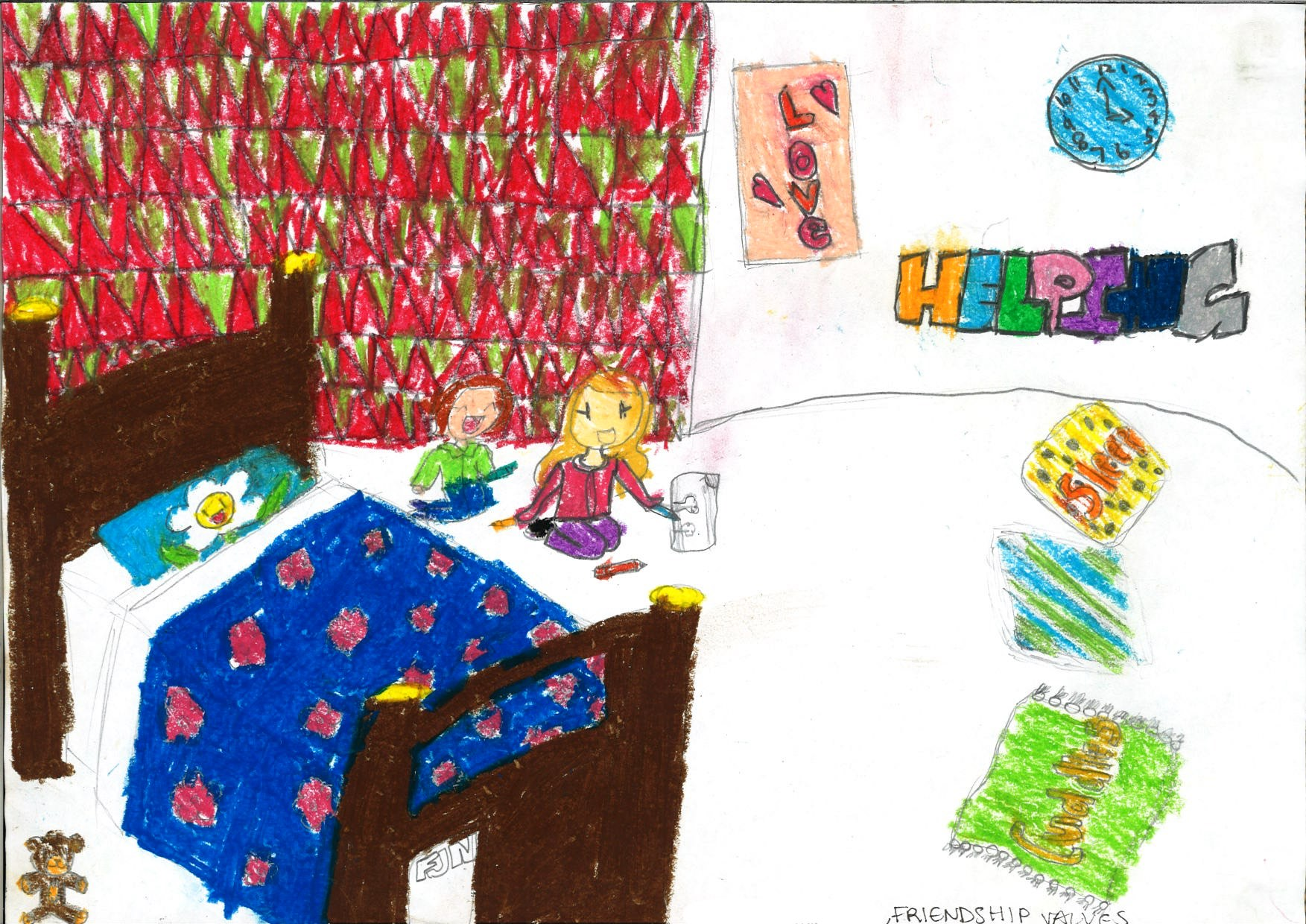 """Using oil pastels, the two children literally """"spell out"""" the multi-dimensional nature of friendship - involving sleep, cuddles, love and being helpful to one another. Perhaps in an act of self-reflection, two girls are also depicted as completing a drawing together within a vibrantly-coloured bedroom. The smiling flower (on the pillowcase), and the teddy bear adds to the warmth of the scene."""