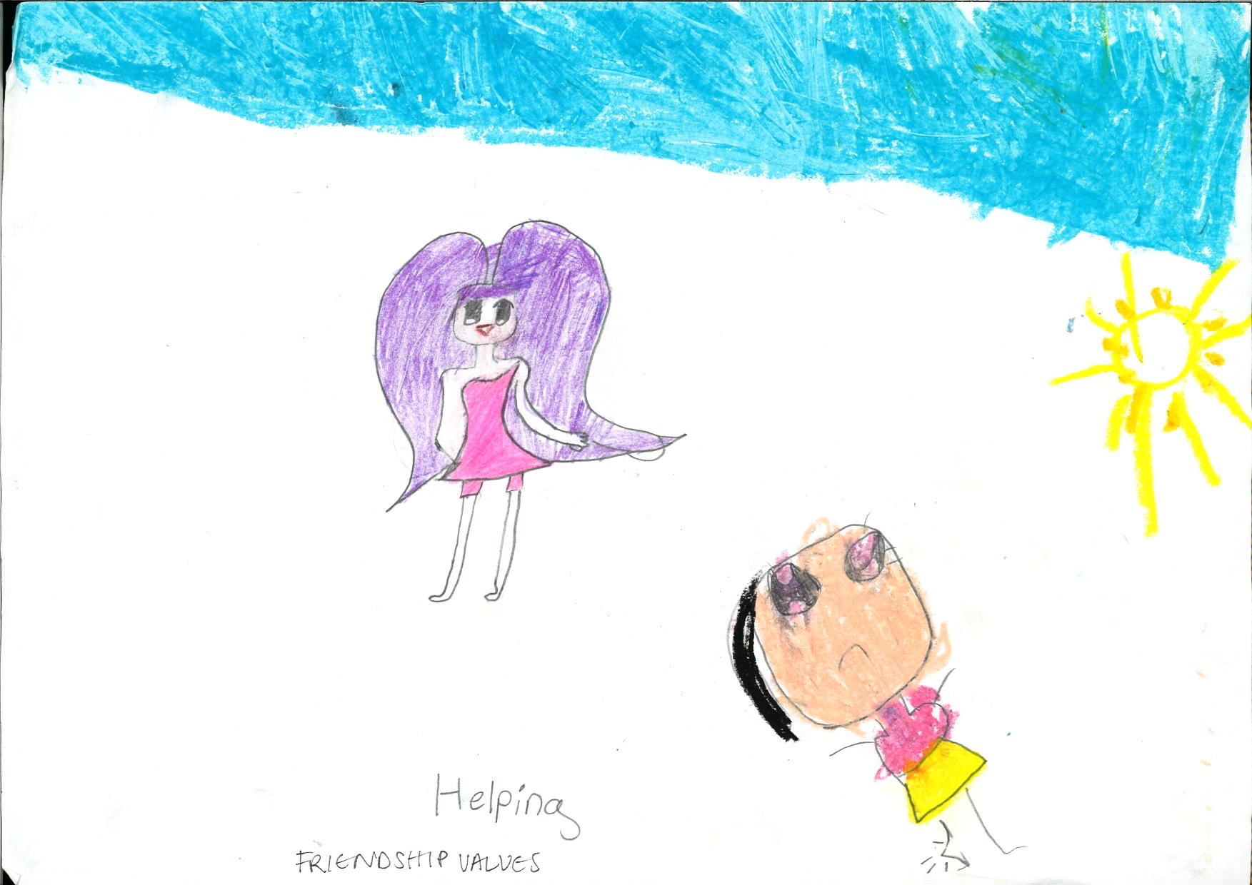 """Friendship evokes feelings of a warm, sunny day. The age difference, and personal artistic styles, of these two participants is also evident here. The first child, who was 10 years old at the time of this picture, represents herself in """"high fashion"""" style, with a dramatic, sweeping purple headdress, and a short, pink dress and tights. The second child's self-portrait is less clear, given the brightly coloured clothes juxtaposed with a frowing face and """"posed"""" knee. The facial features of these images can also be seen as an attempt to mirror the drawing style of contemporary, mainstream cartoons."""