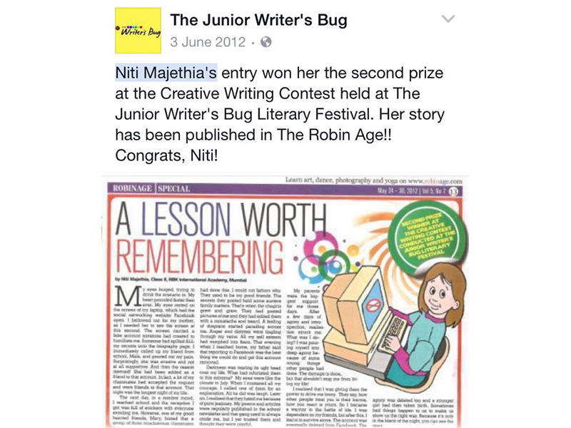 One of the first writing contests won in India (2012)