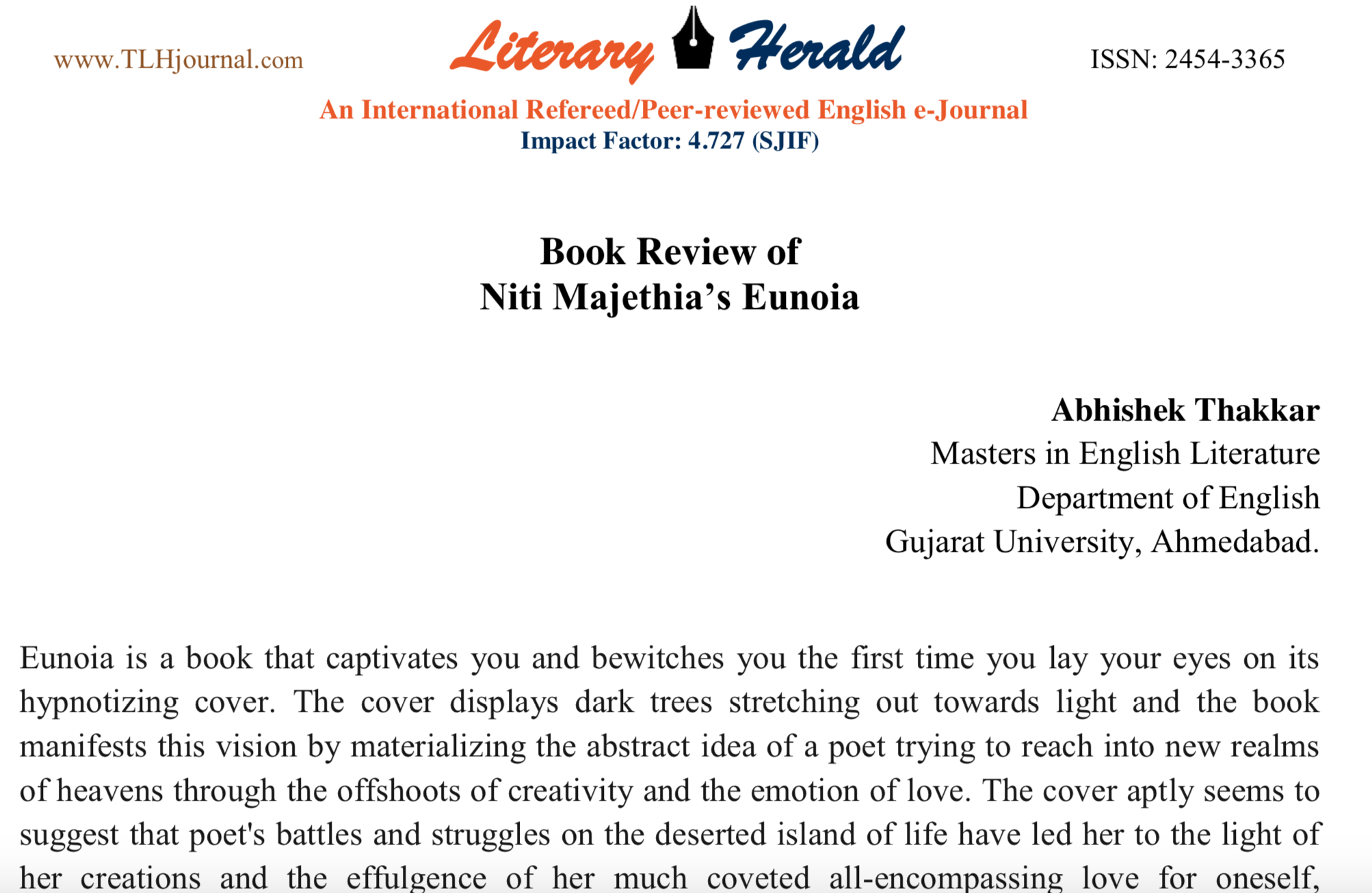 Two page review of Eunoia by a reader published in    The Literary Herald Journal    (2019)
