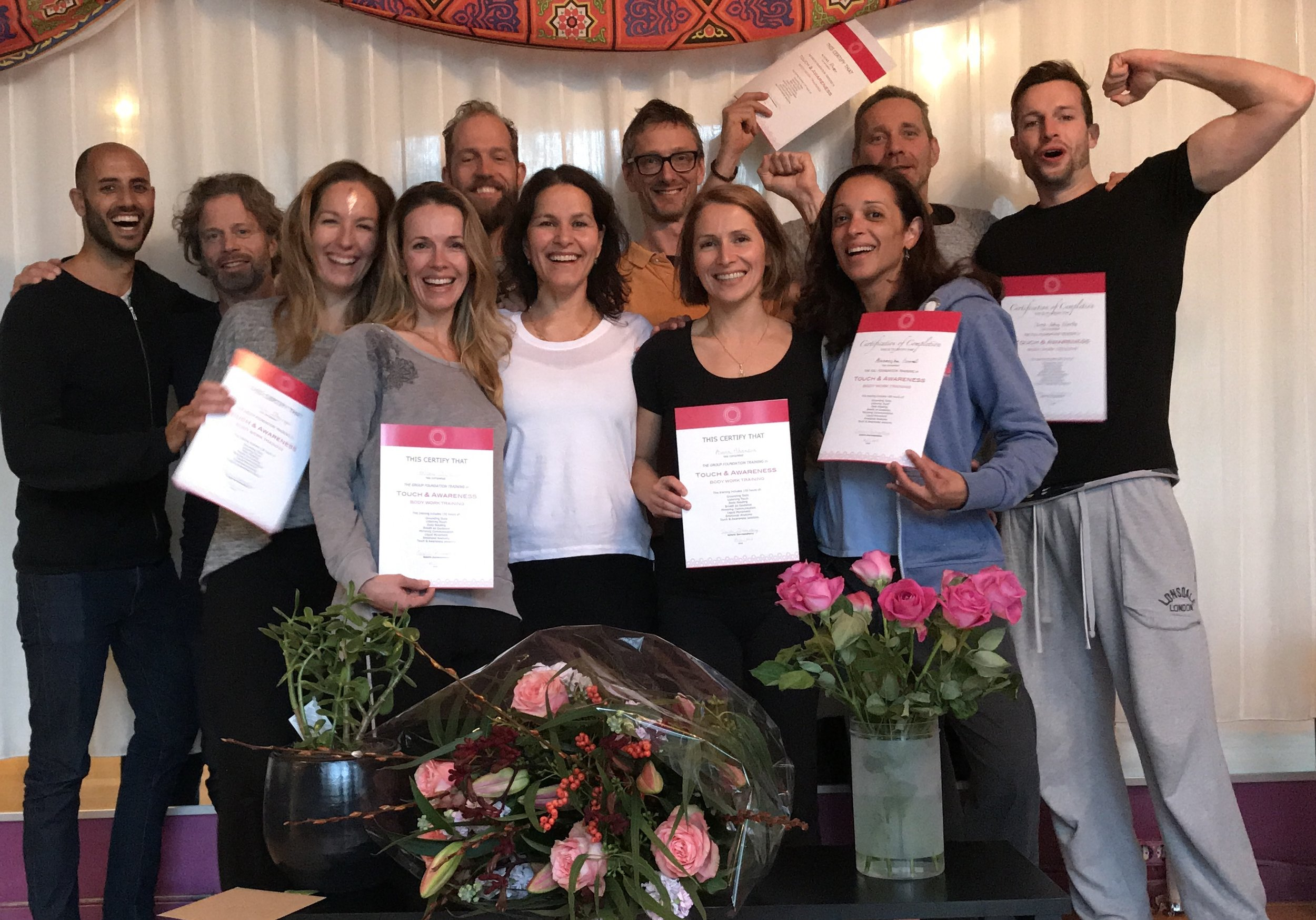 Students' last day of the group training in 2018. Celebration!   About the founder and facilitator : Schirin started her training in Rosen method bodywork in 1996. She has been a practitioner since 2001 and a supervisor. Also educated in Thaivedic massage and as a tantric bodyworker. Her passion is to get in Touch with what is happening in the present moment. Amsterdam 2018 saw the first edition of her Touch & Awareness bodywork training; bringing together a blend of all her deep experience.