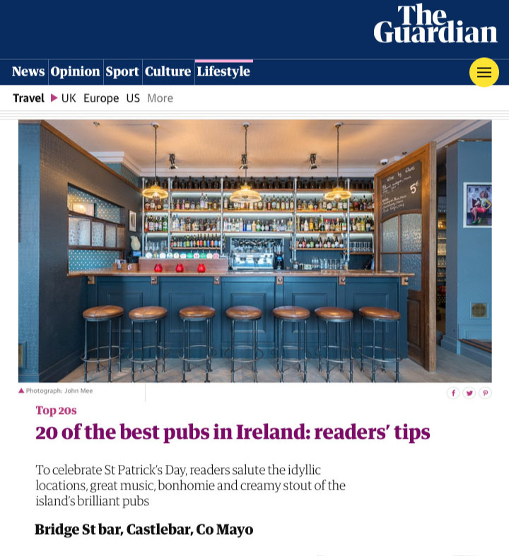 Castlebar Gin Trail's Bridge St bar named in  The Guardian's  20 Best Pubs in Ireland. Click on the link below to read the full article.