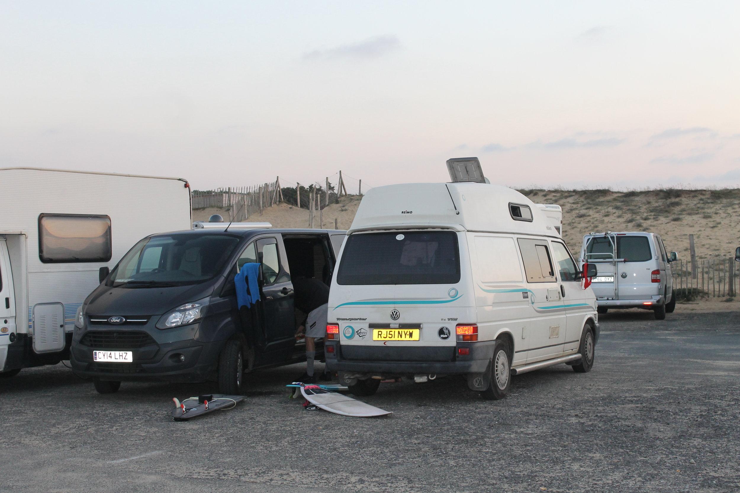 Vans pulled up post surf