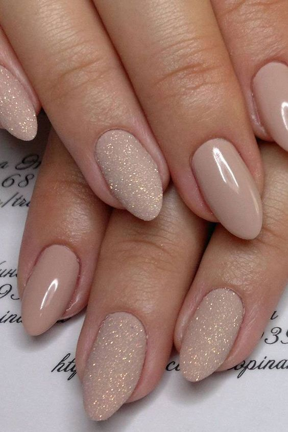 Glitter +Blush - Ask for 'Almond'shape using Dior Vernis 'Icognito' and a gold glitter on 2 out of the 5 nails