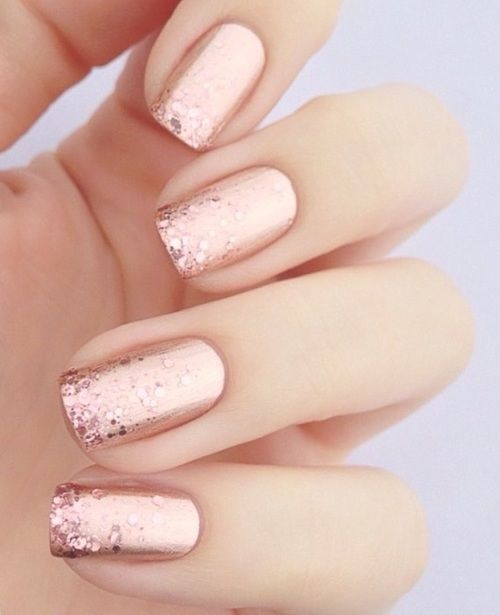Rose Gold - Ask for 'Squared' using OPI 'Worth a pretty Penne'and some pink glitter at nail tip