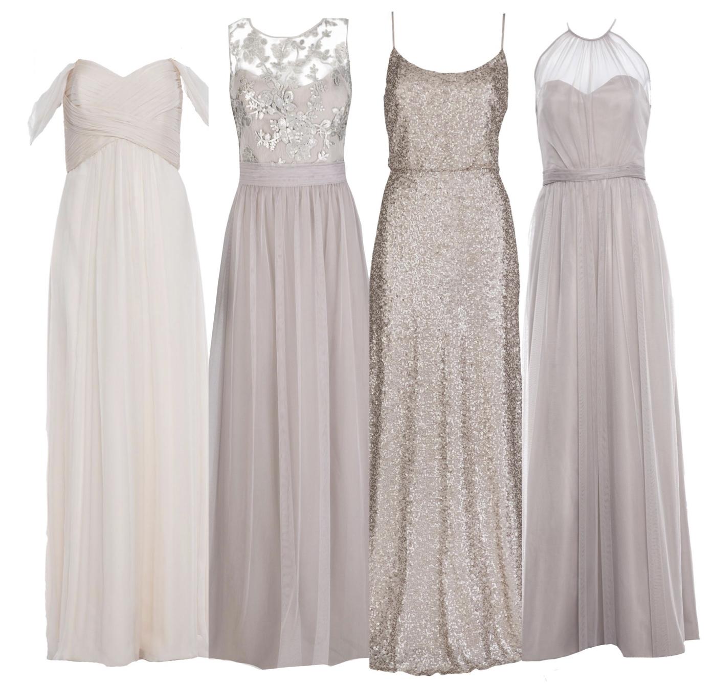 Similar tones, different fabrics - Amsale from $380