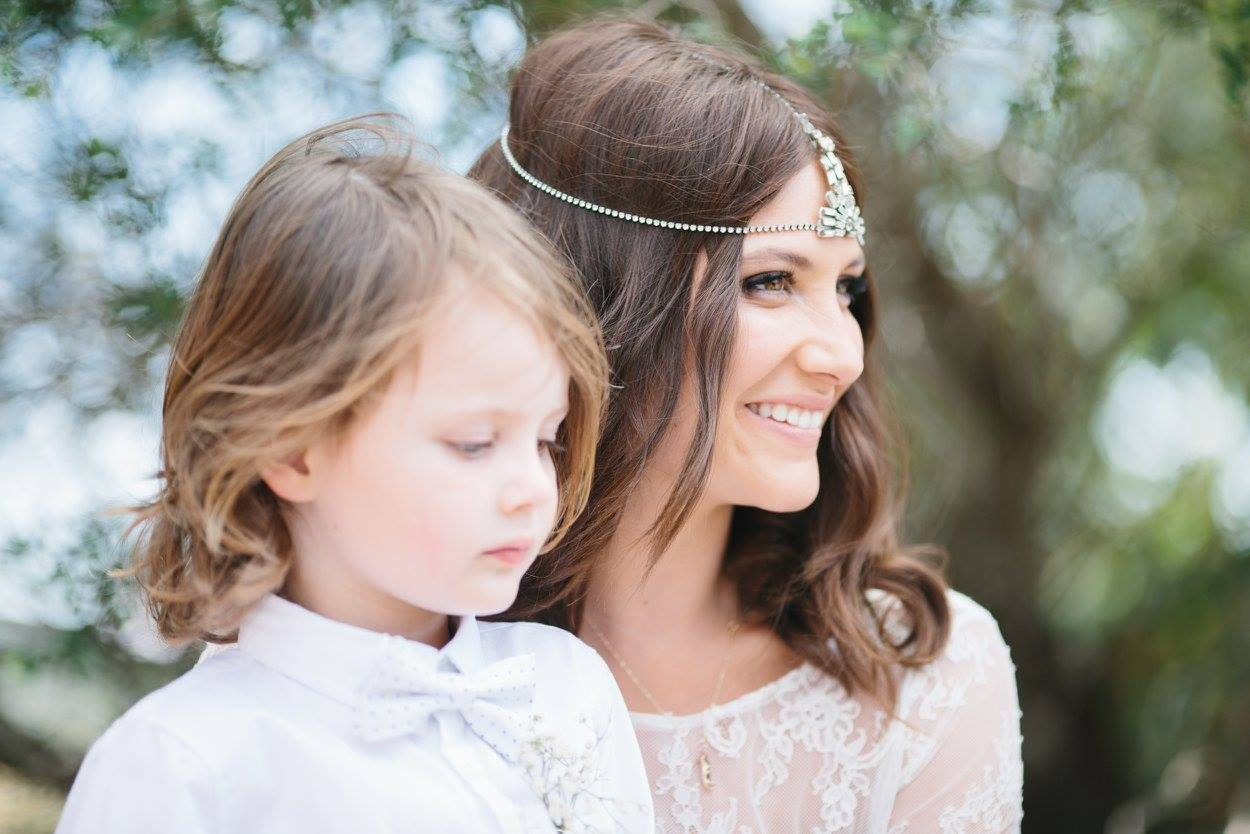 Lizzy and her son Flynn on her wedding day.