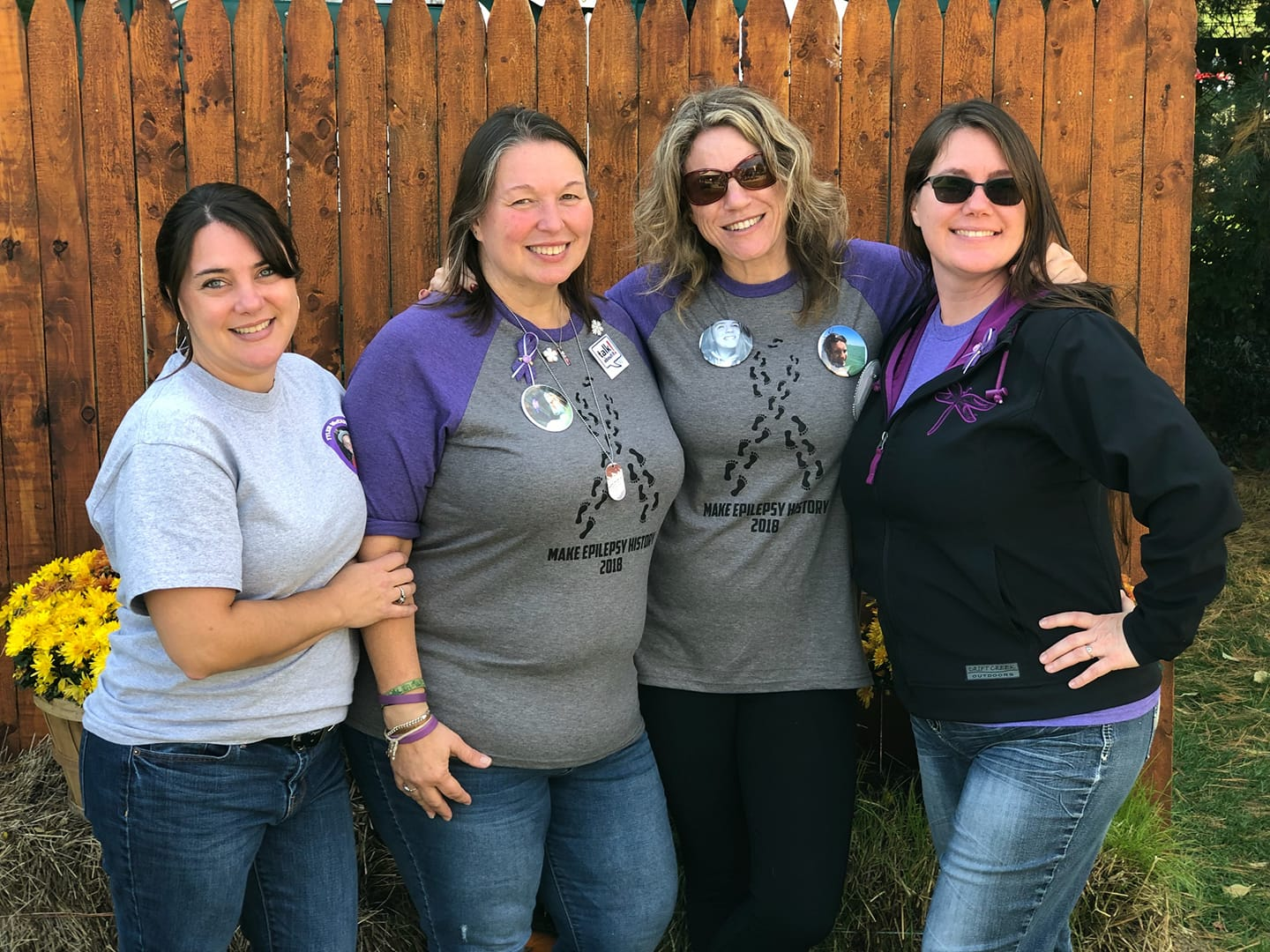 These 4 moms attended our NH Walk for Epilepsy on 10.14.18. They each have lost a young person to SUDEP within the last 2 years and they found each other through Epilepsy Foundation NE. This was the 2nd year we held the walk on 10.14; Amberlee Carroll died on 10.14.16 at age 18. Mom Tracy is 2nd from left. To the far right is Angela Miller whose daughter Dakota died on 10.15.16; the girls had almost the same birthdate. Far left: Sheri Higgins lost her 20 year old son Tyler in 2016. Lori Worrall lost her 20 year old daughter Emily in 2018.
