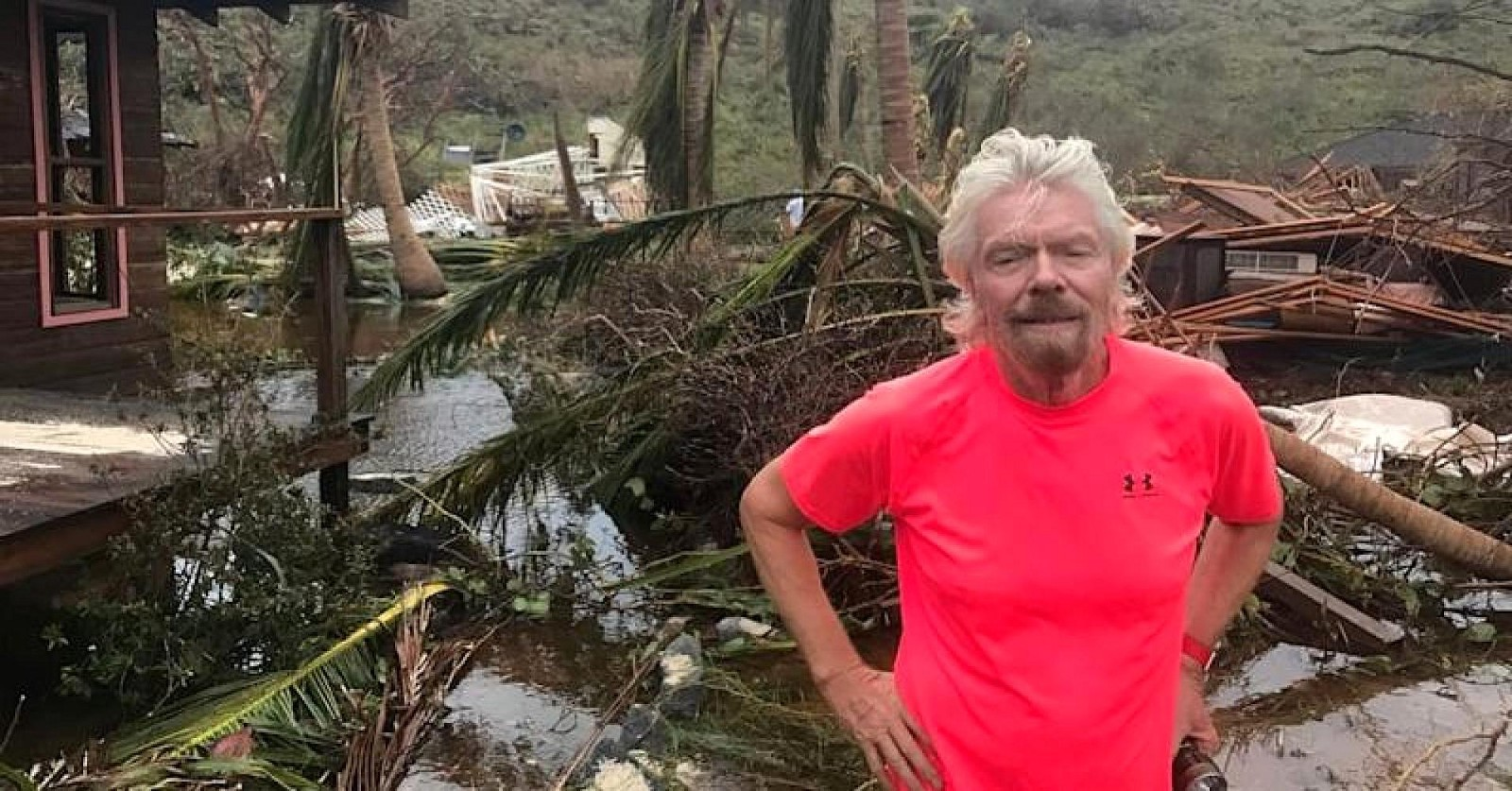 Picture source: CNBC. Richard Branson on Necker Island, post Hurricane Irma. Media coverage reports that Branson and his team have been personally providing enormous aid and relief services throughout the Virgin Islands, post disaster.