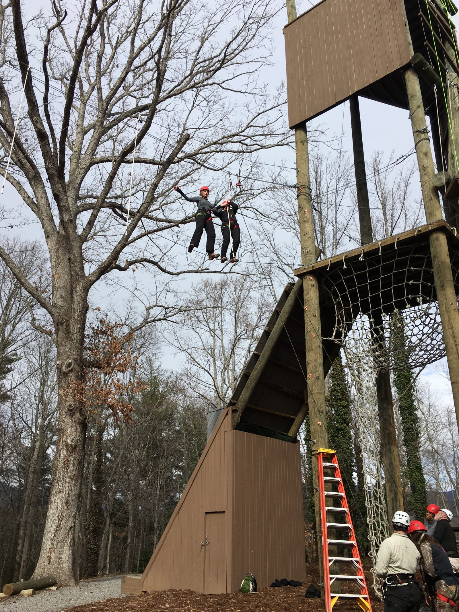 My amazing partner  Carmen Ekdahl and I on the high wire, teaching a workshop to the folks on the ground.