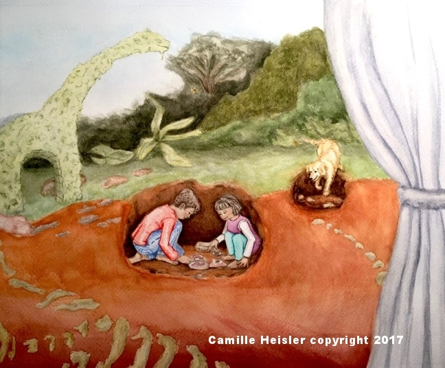 """James, Lily and Rosey find Treasures in the Garden, from the book """"Exploring Soils: A Hidden World Underground""""."""