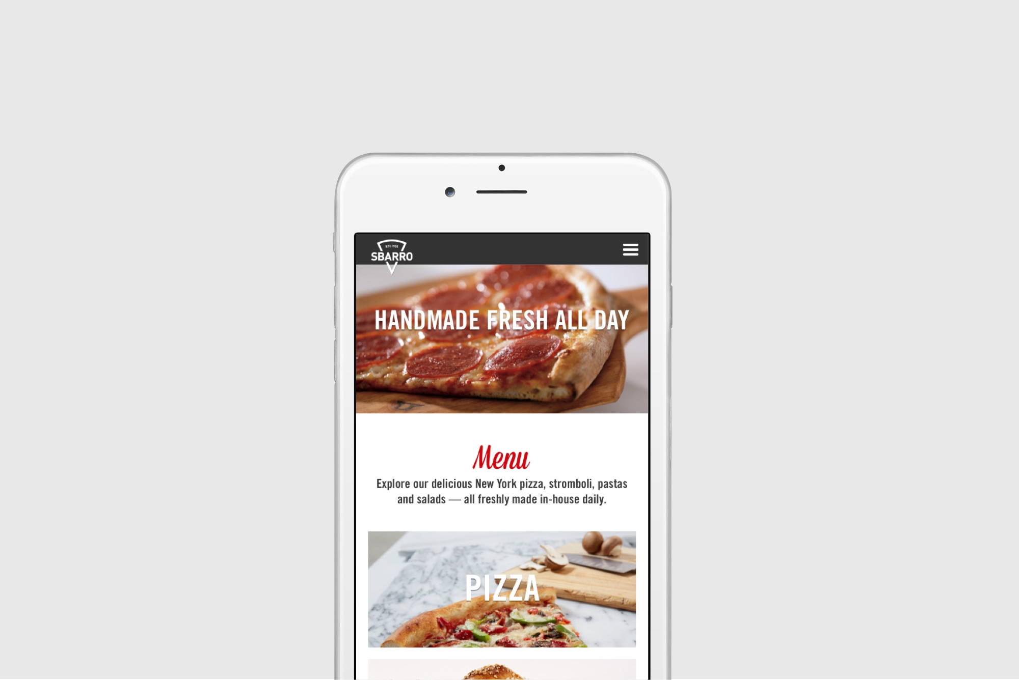 Sbarro Web Design