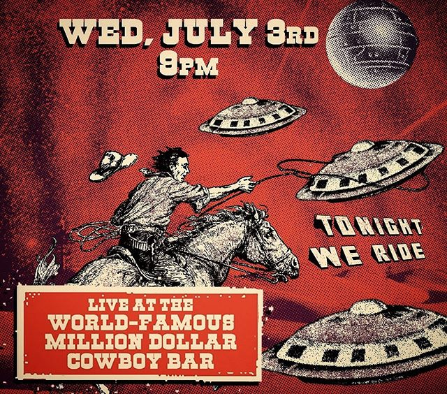 TOMORROW NIGHT!!! Don't miss our debut at the @milliondollarcowboybar. It's gonna be a cosmic event like nothing that has ever happened in that room before. Don't miss the intergalactic invasion!!! $10 at the door. • #spsw #sneakytour #jacksonhole #livemusic #originalmusic #funk #groove #jazz #getweird