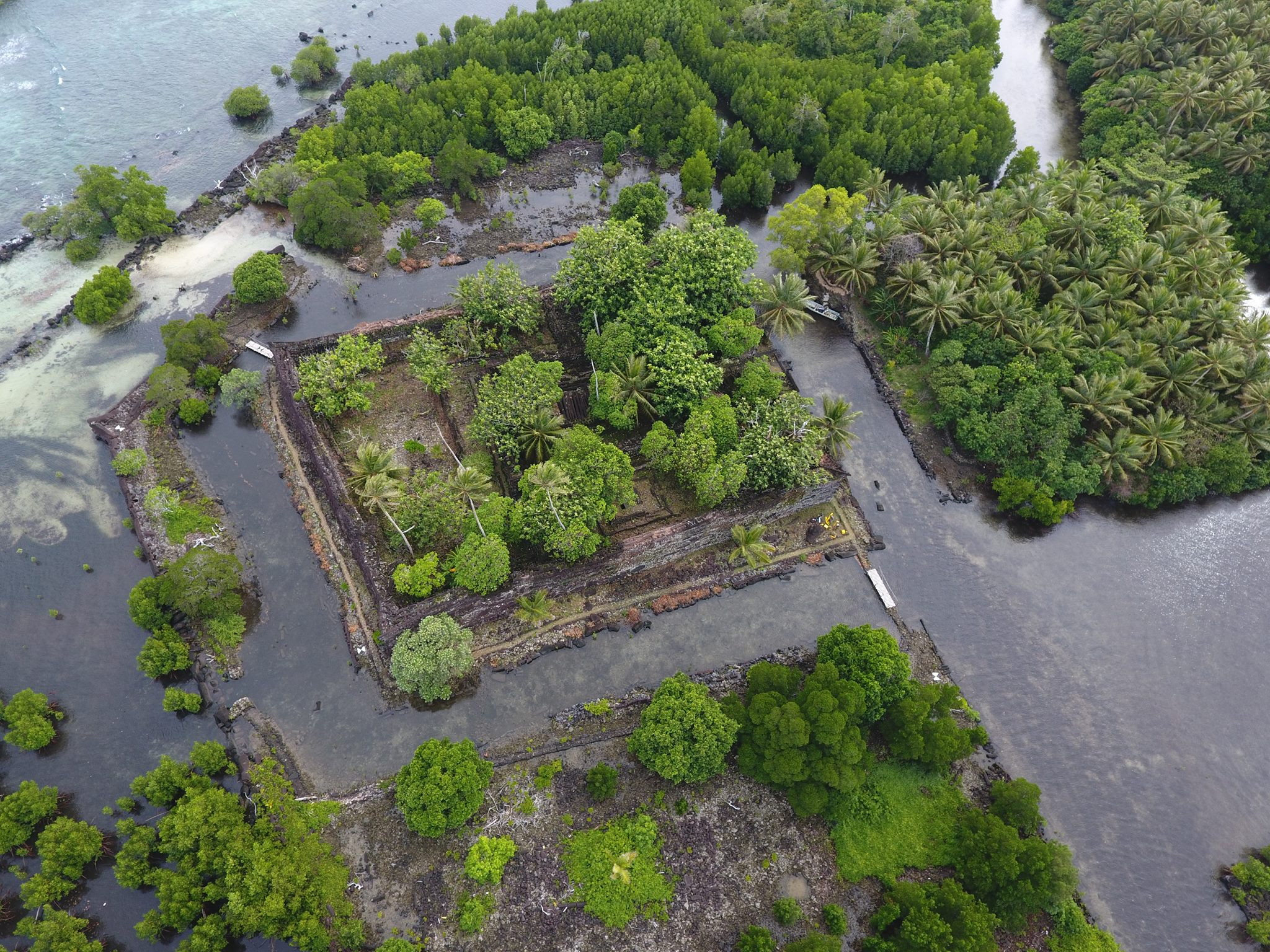 An aerial view, taken from a drone, of Nan Dowas, perhaps the most iconic of Nan Madol's approximately 100 human-made islets.