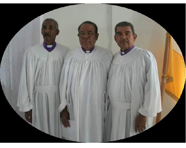 Retired pastors and still serving as Bishops of the Moravian Unity (L – R) Bishop Oliver Hodgson, Bishop John F. Wilson, Bishop William Webster