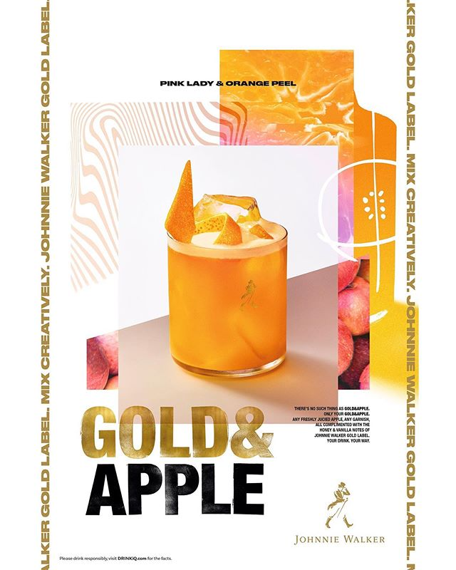 Another hot day, another cold drink - johnnie walker gold label - pink lady & orange peel over ice! Ace photography by @addiechinn - design/ad by Something.