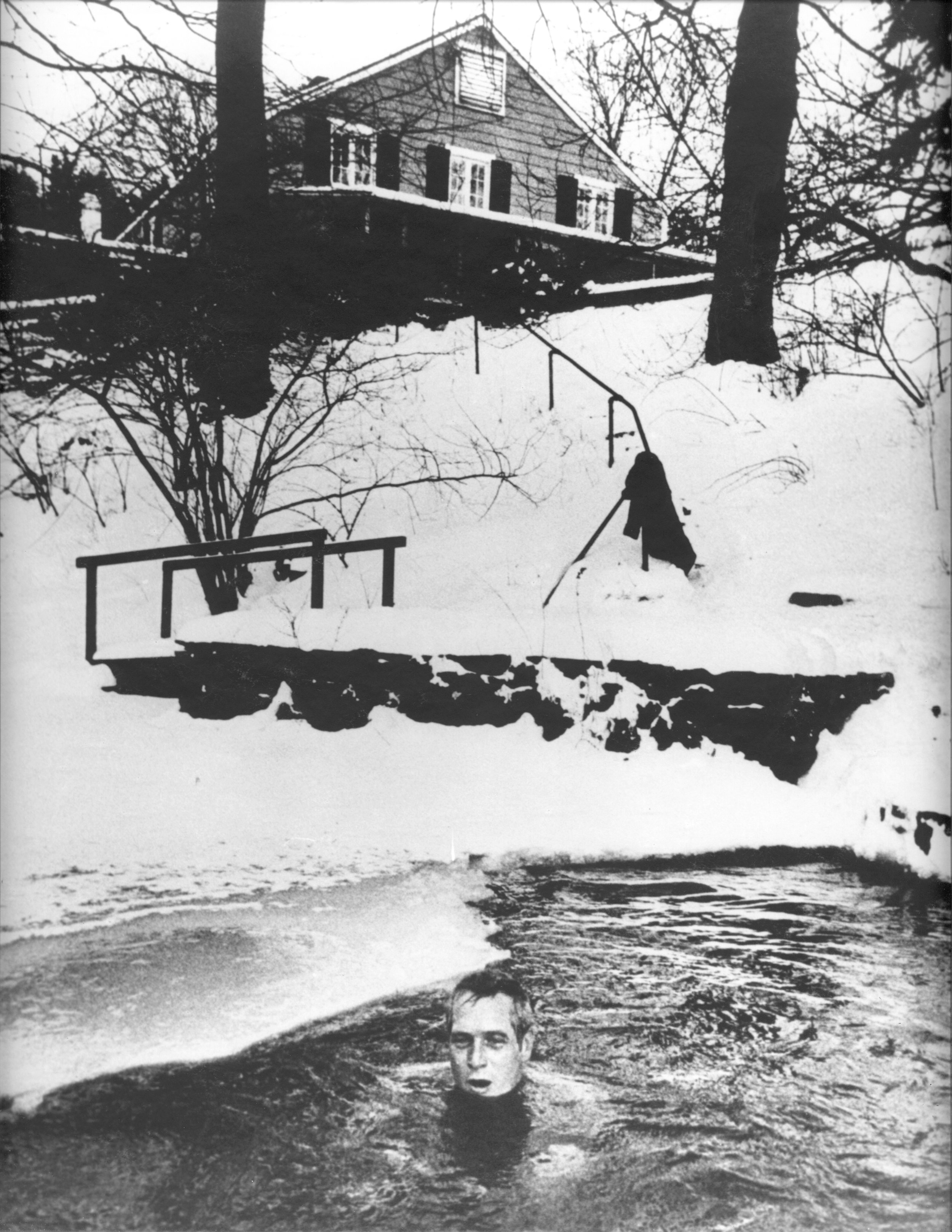 Paul Newman enjoying a winter swim in the Aspetuck river which runs through the preserve.