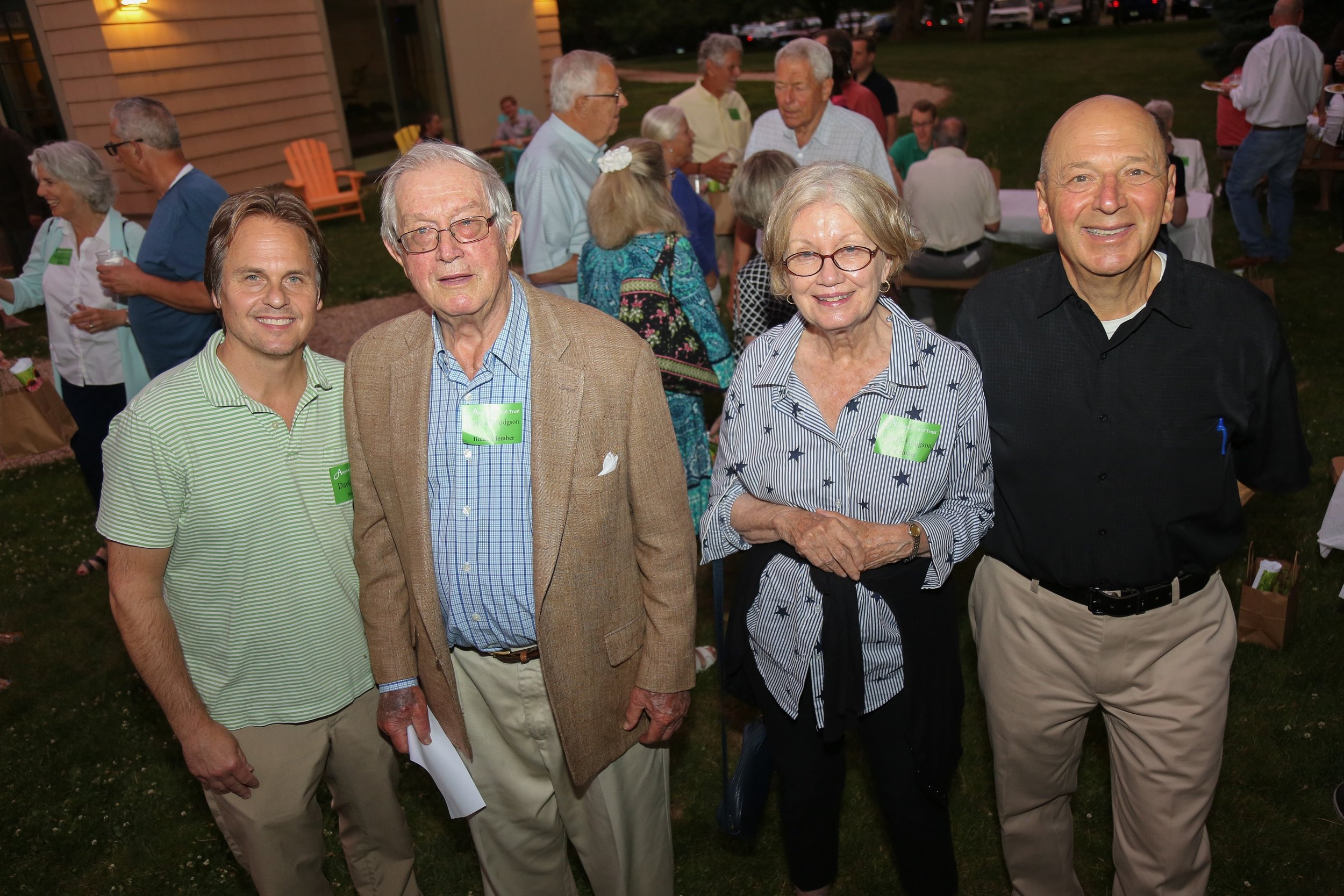 Aspetuck Land Trust Executive Director David Brant, with long-serving retiring board member Raphael and his wife Roberta Hodgson, and Don Hyman, Board President.