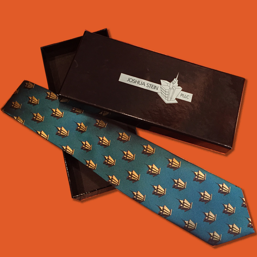 Custom-designed tie and packaging