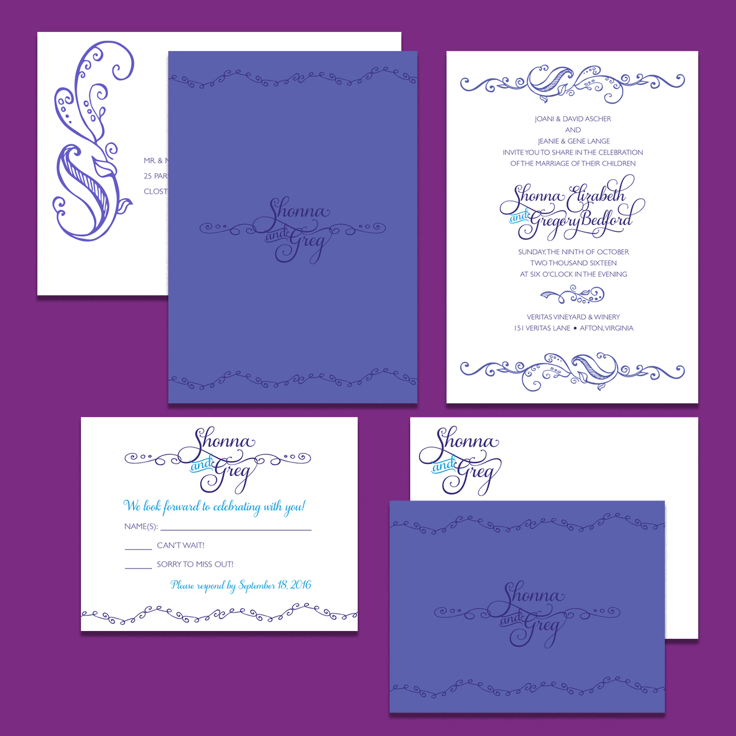 Wedding invitation printed on front and back; matching envelope; response card; folded notecard with matching envelope