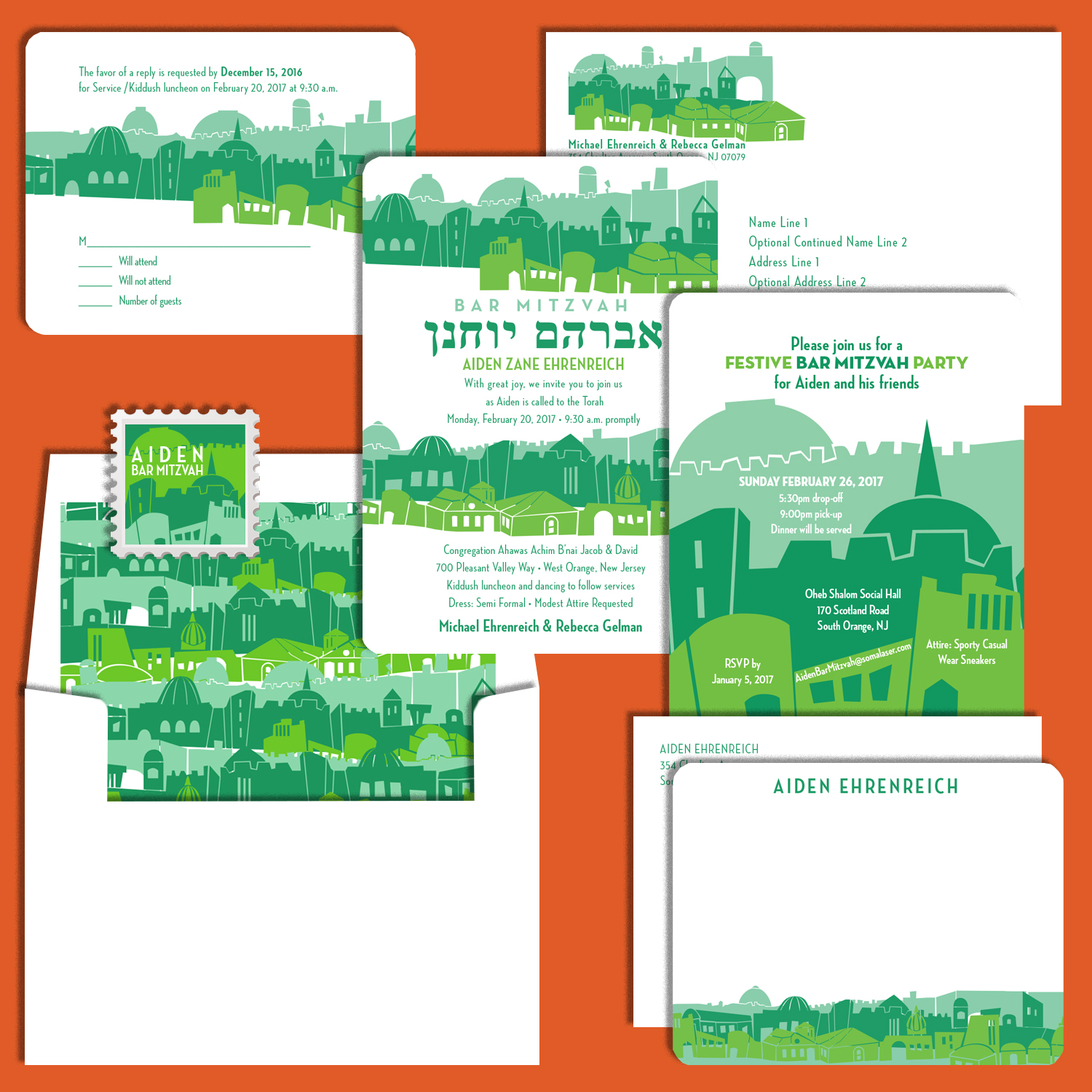 Two separate Bar Mitzvah invitations with matching, lined envelope, custom stamp, response card and flat notecard with envelopes; all cards have rounded corners. Artwork that I created for all pieces of the invitation suite is based upon a collage created by the bar mitzvah boy's mother.