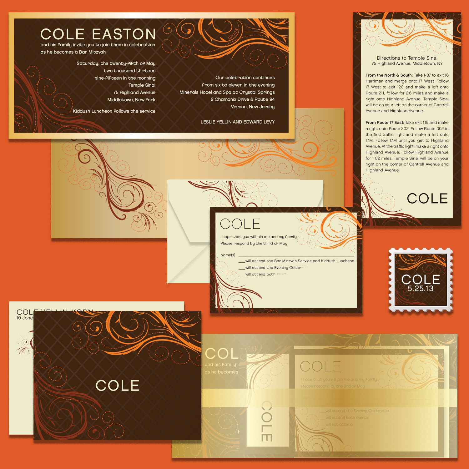 Bar Mitzvah nvitation mounted on metallic stock, with printed metallic envelope, enclosures, custom stamp, notecard with envelope; shown with translucent metallic paper wrapper for invitation and enclosures