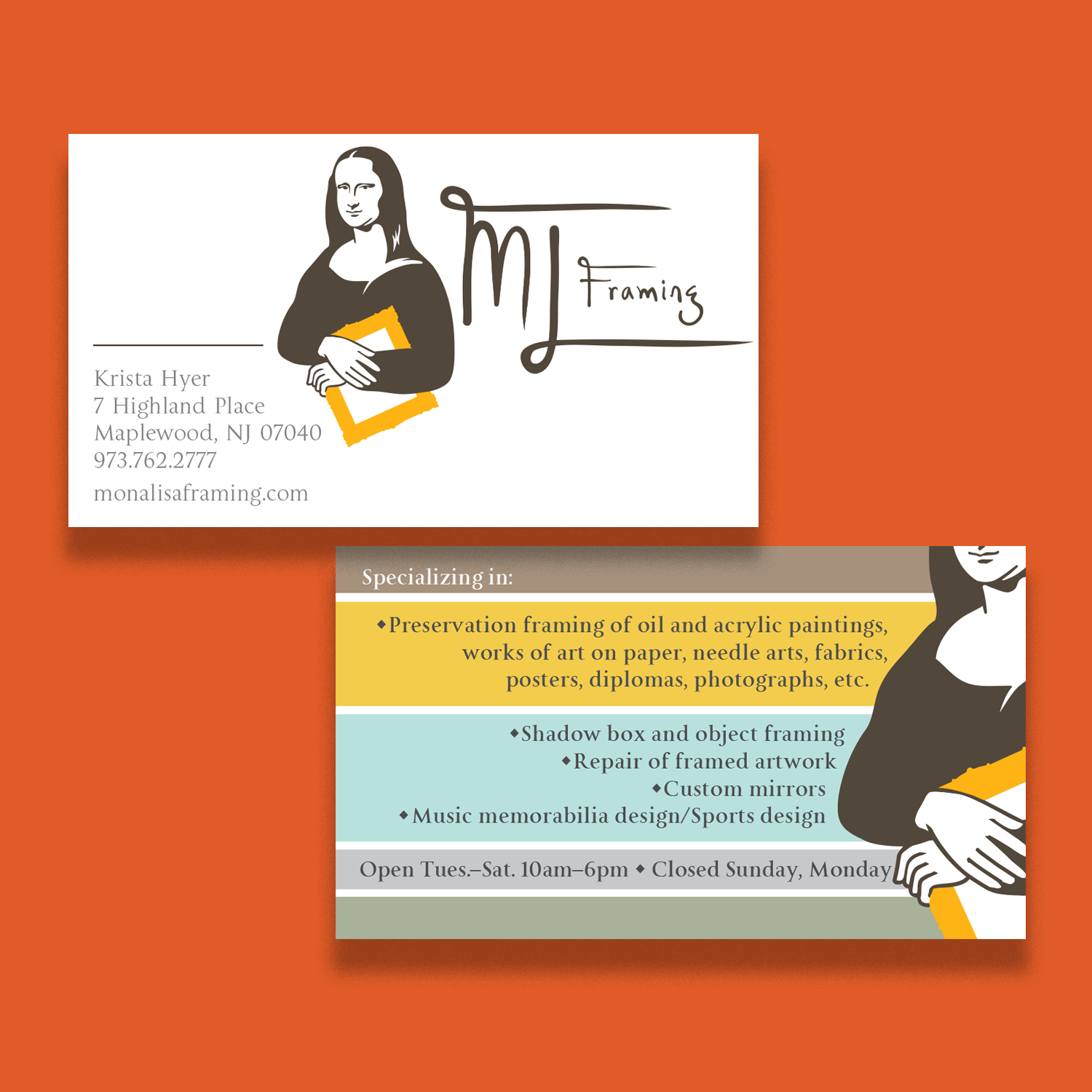 ML Framing owner's 2-sided business card