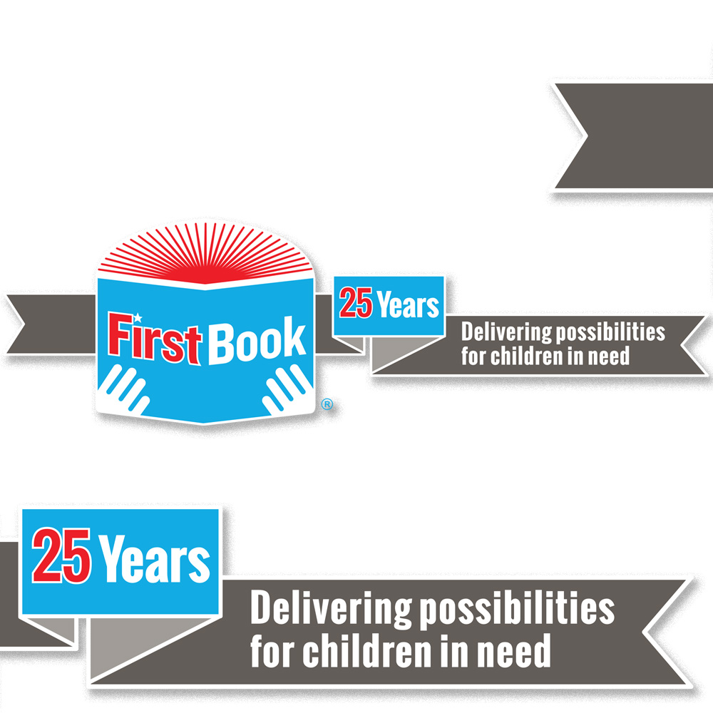 My revision of the First Book logo for its 25th anniversary