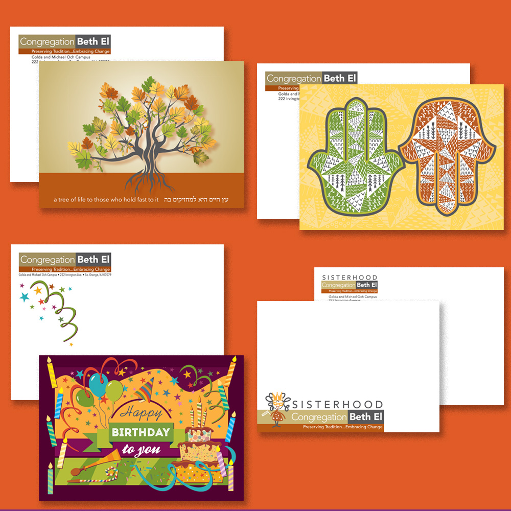 Various note cards with envelopes for Congregation Beth El: folded tribute card; folded greeting card; folded birthday card; flat Sisterhood card