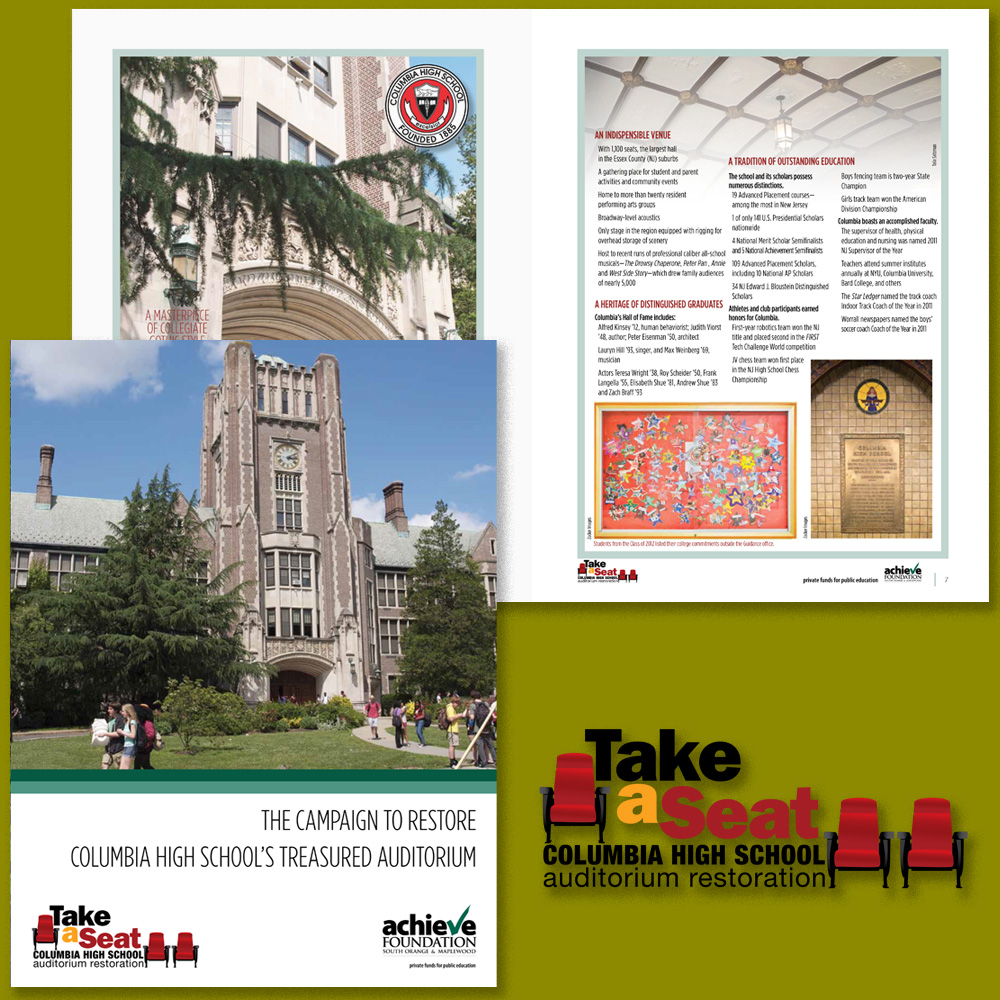 Materials created for the Take A Seat campaign: logo design; fund-raising folder with 8-page insert.