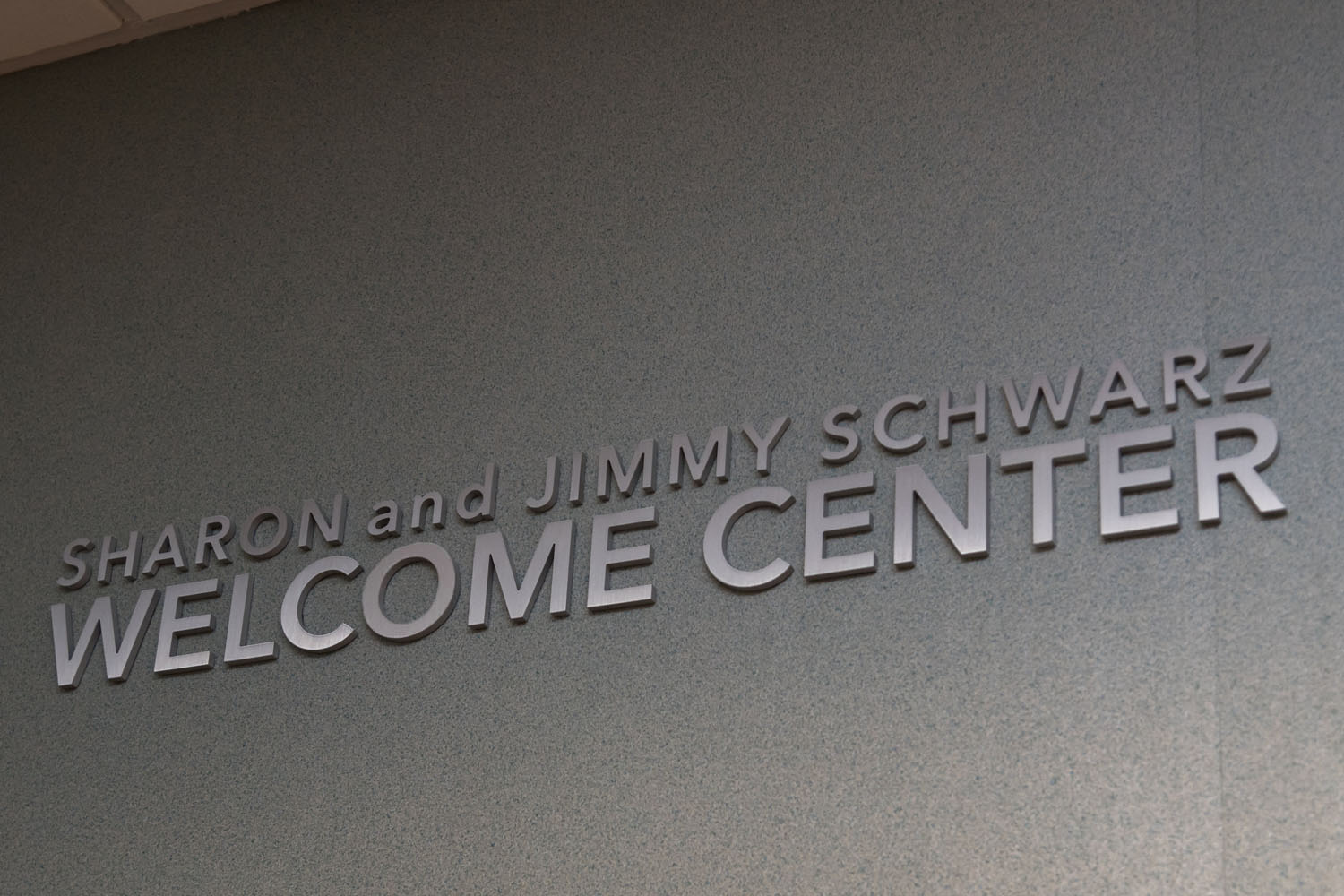 Brushed aluminum dimensional letters identifying named area of building.