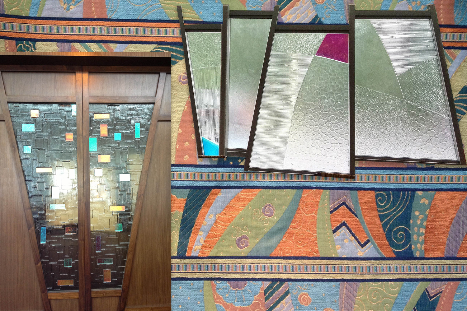 Lieberman Chapel Ark; Window detail–note the curved shapes and varied textures; Background: the FABRIC!